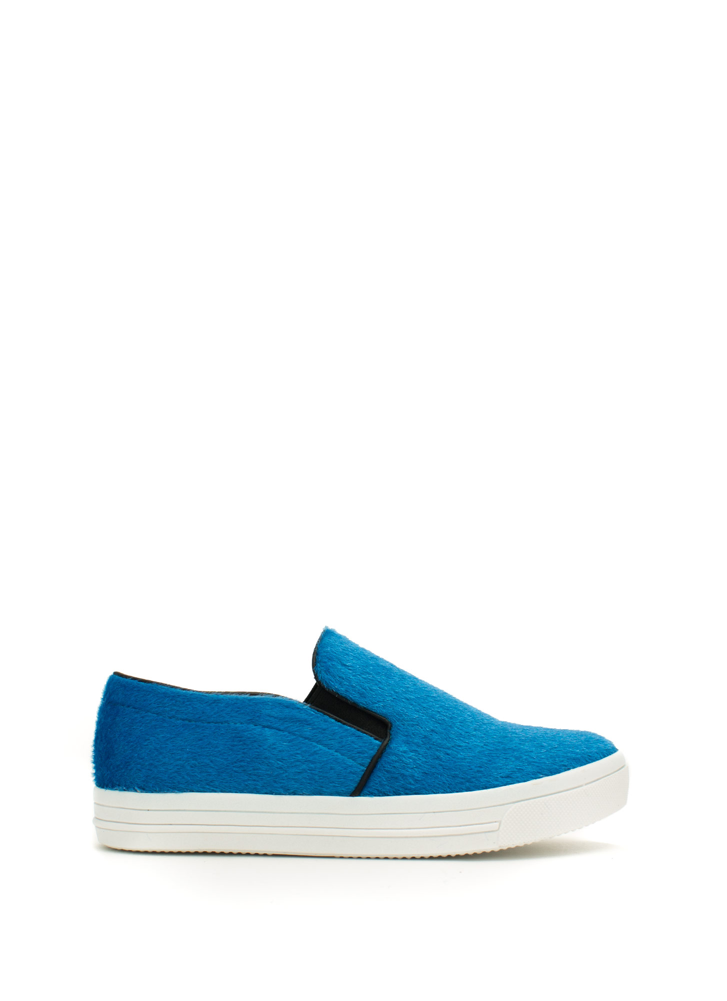 Furry Piped Slip-On Sneakers BLUE
