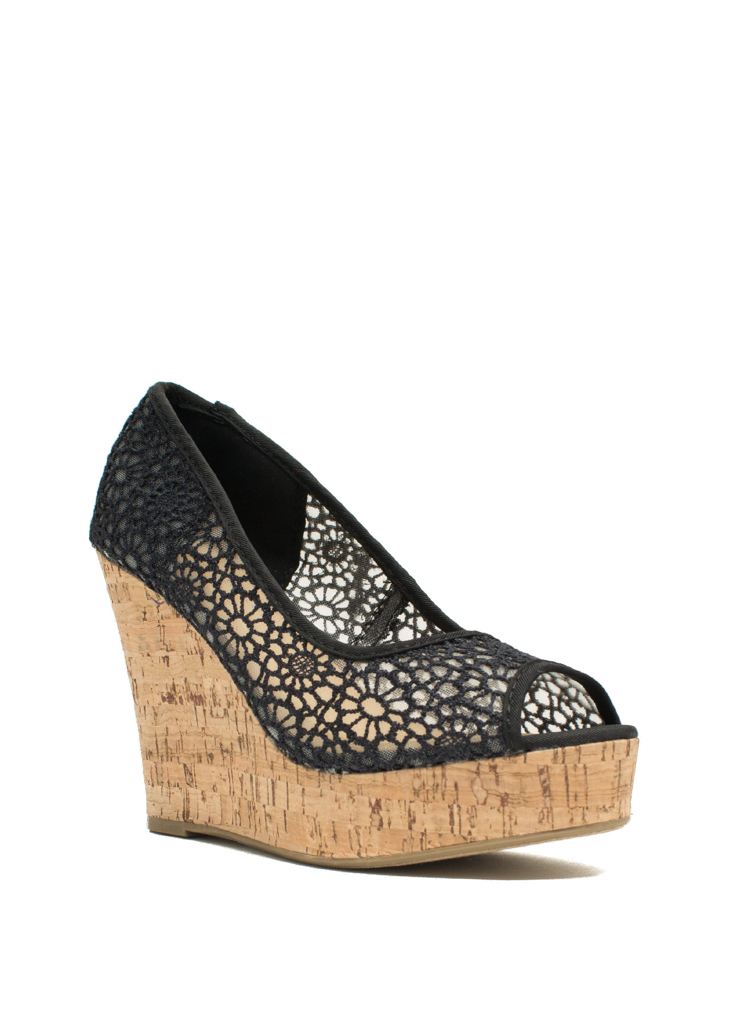 Embroidered Peep-Toe Wedges BLACK