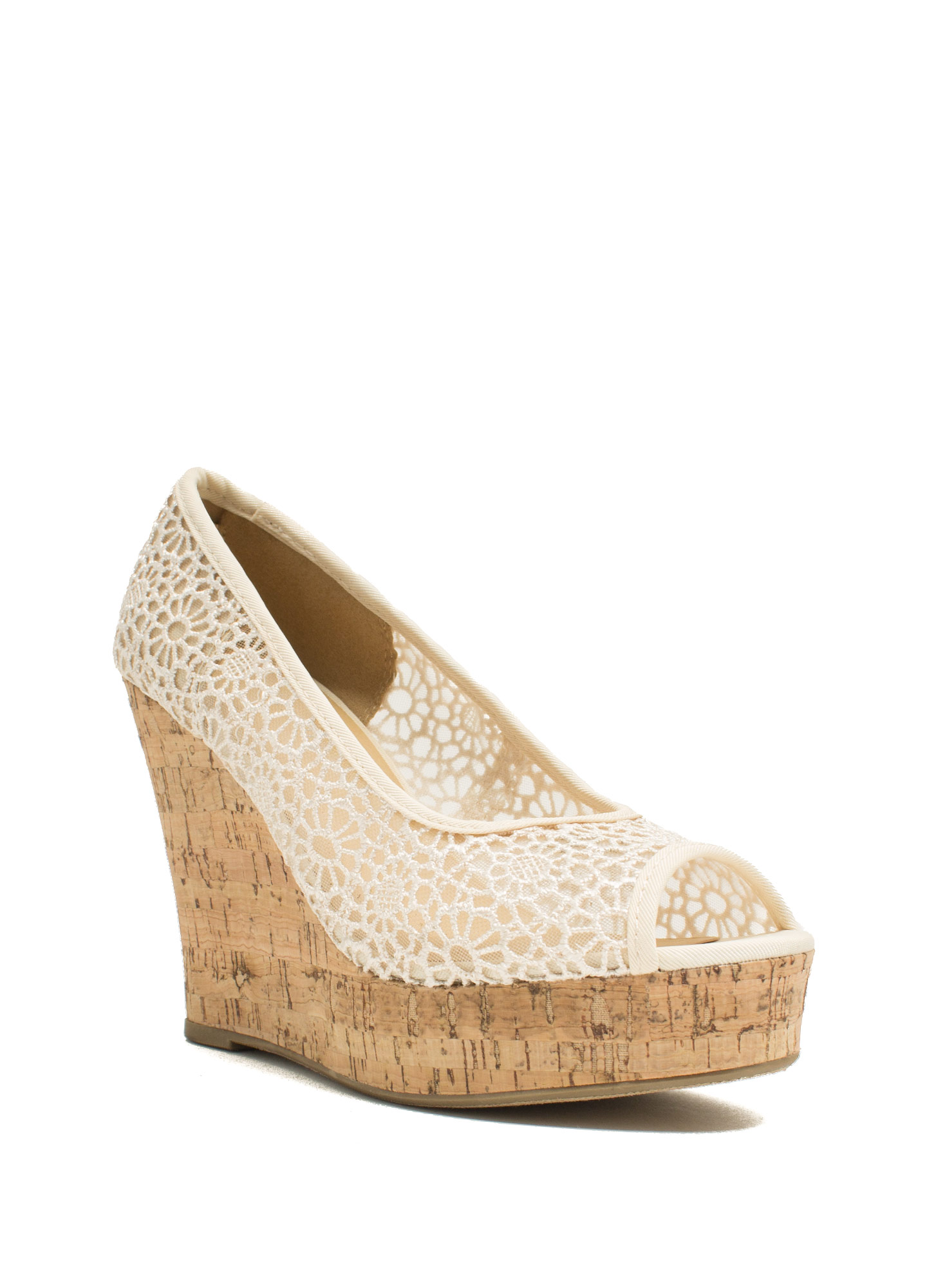 Floral Fiend Embroidered Wedges LTTAUPE (Final Sale)