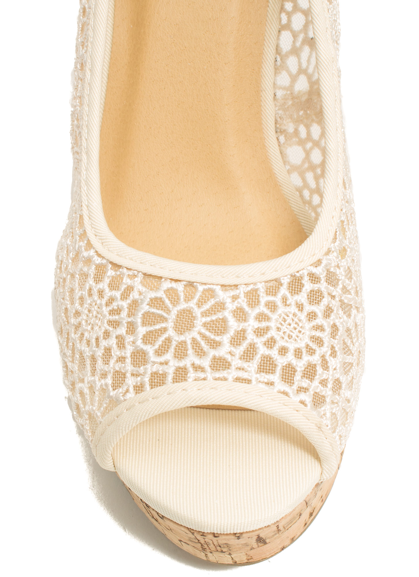 Embroidered Peep-Toe Wedges LTTAUPE