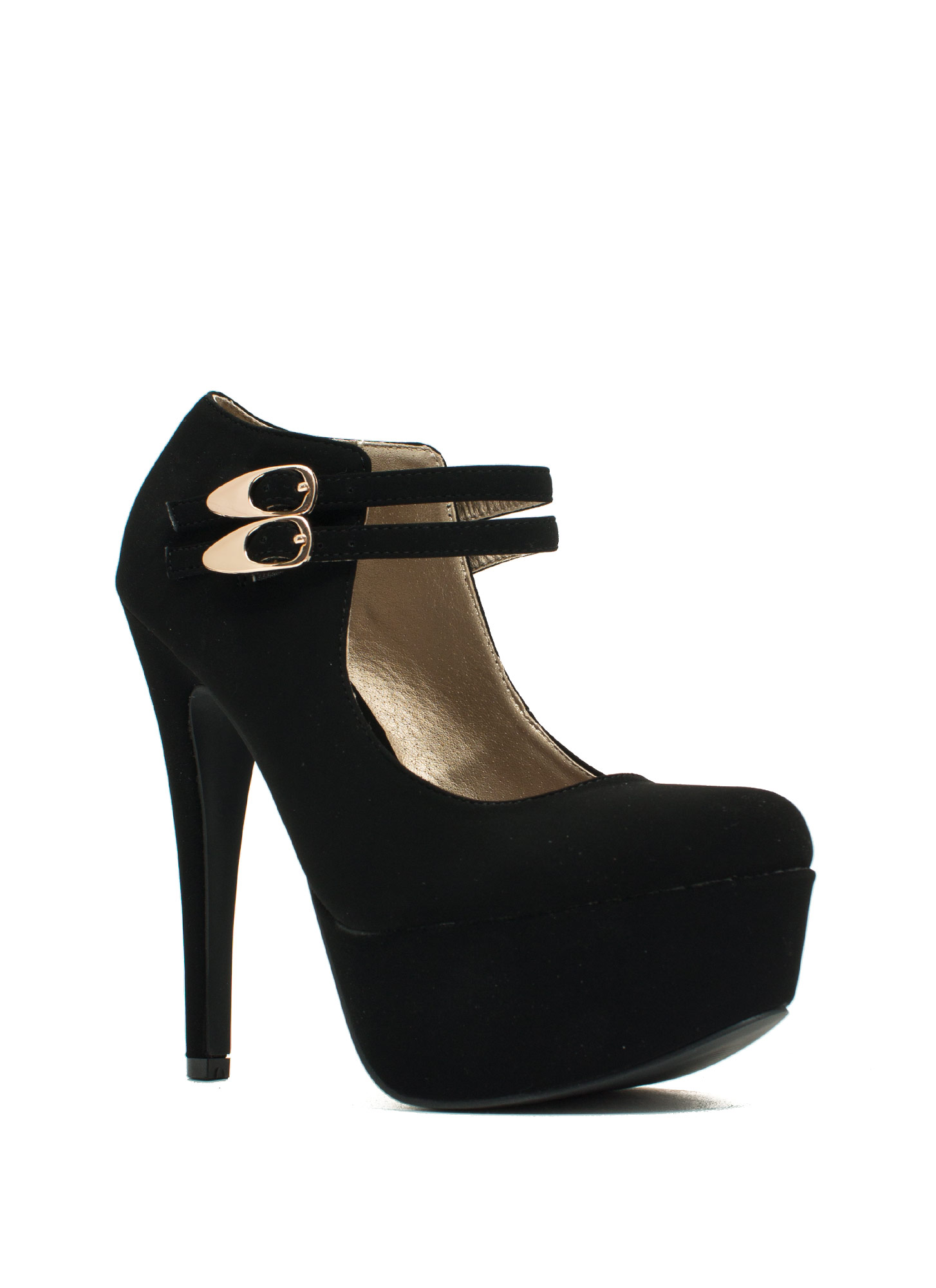 Girl Crush Faux Nubuck Mary Jane Heels BLACK