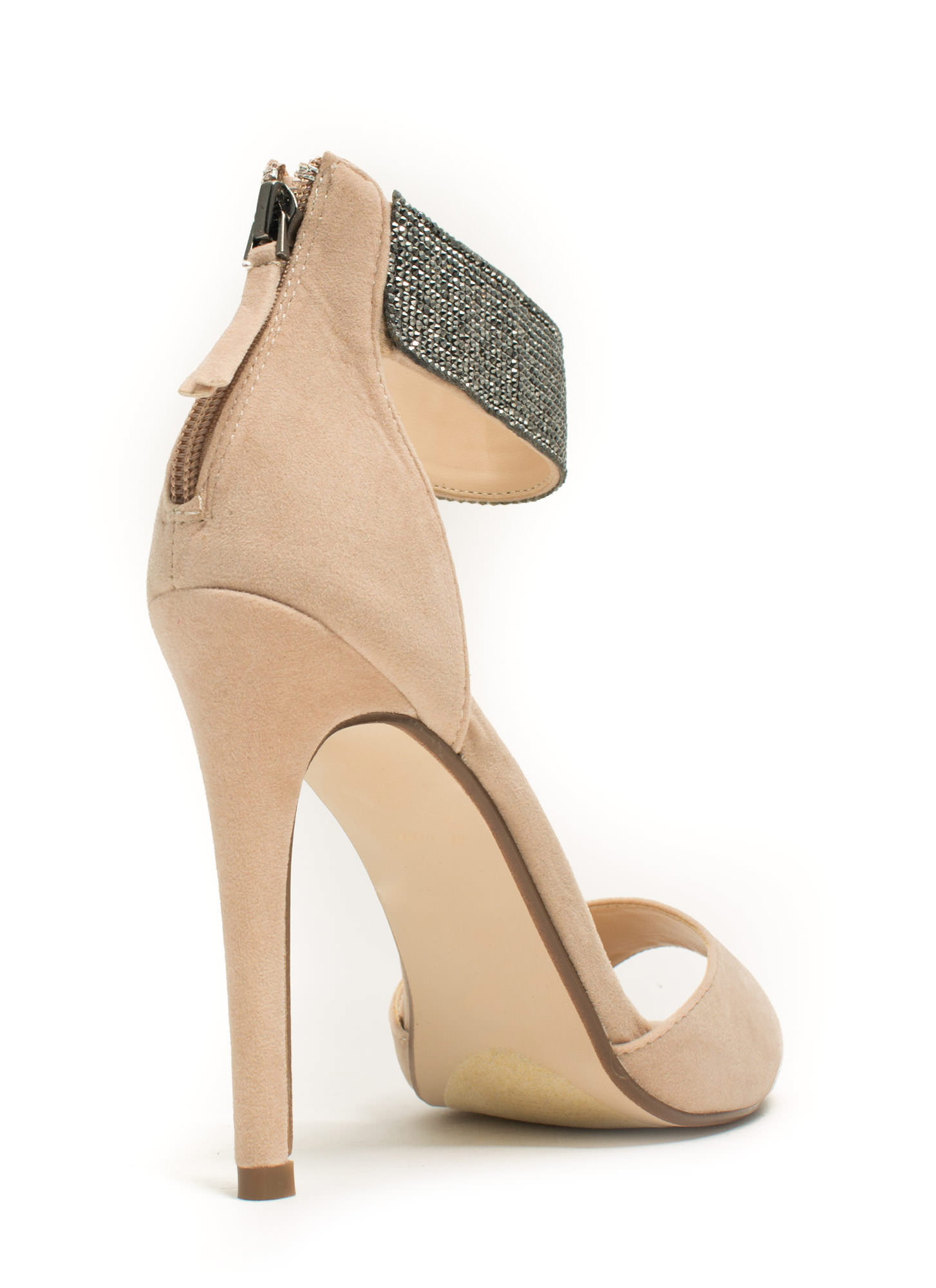 Embellished Cuff D'Orsay Heels NUDE