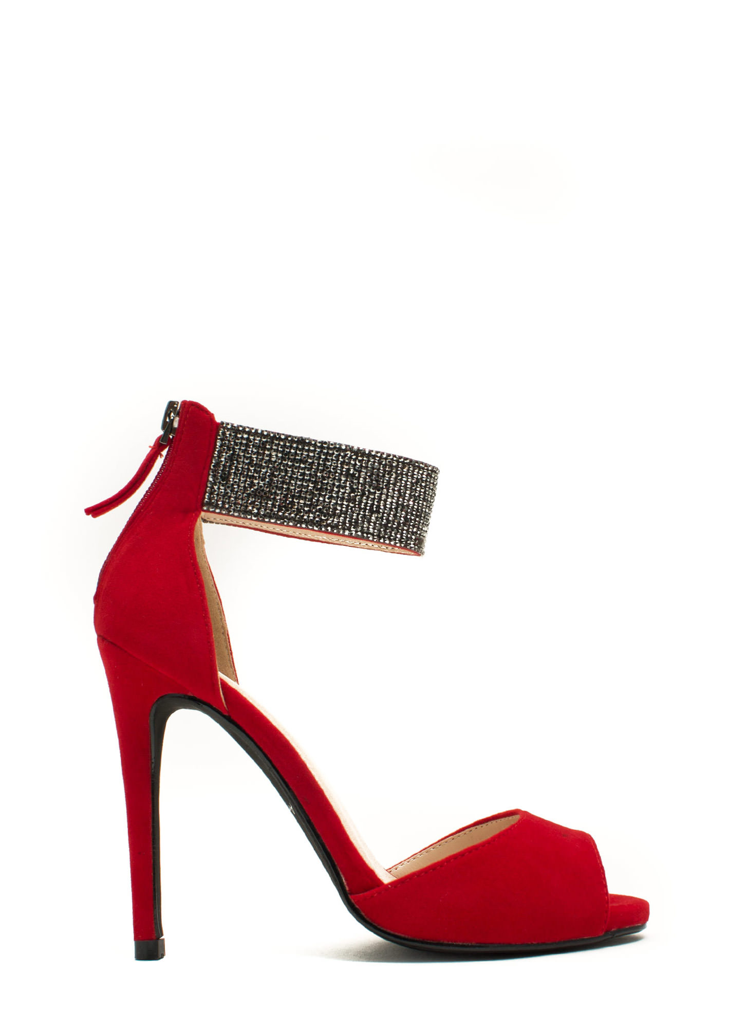 Embellished Cuff D'Orsay Heels RED (Final Sale)