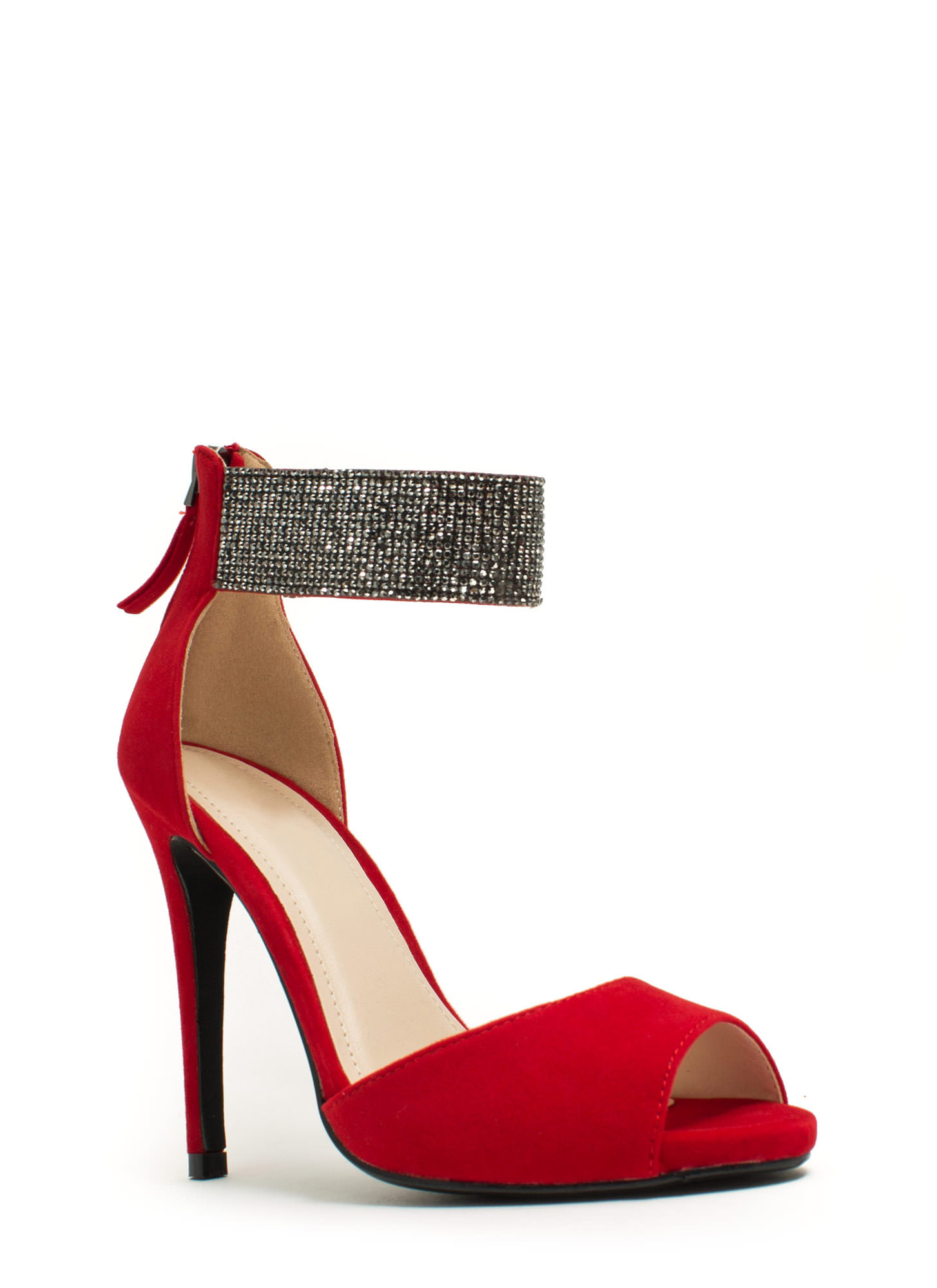 Embellished Cuff D'Orsay Heels RED