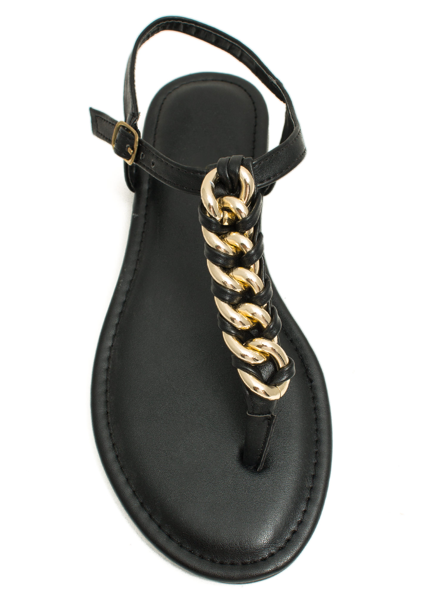 Braided Chains T-Strap Sandals BLACK