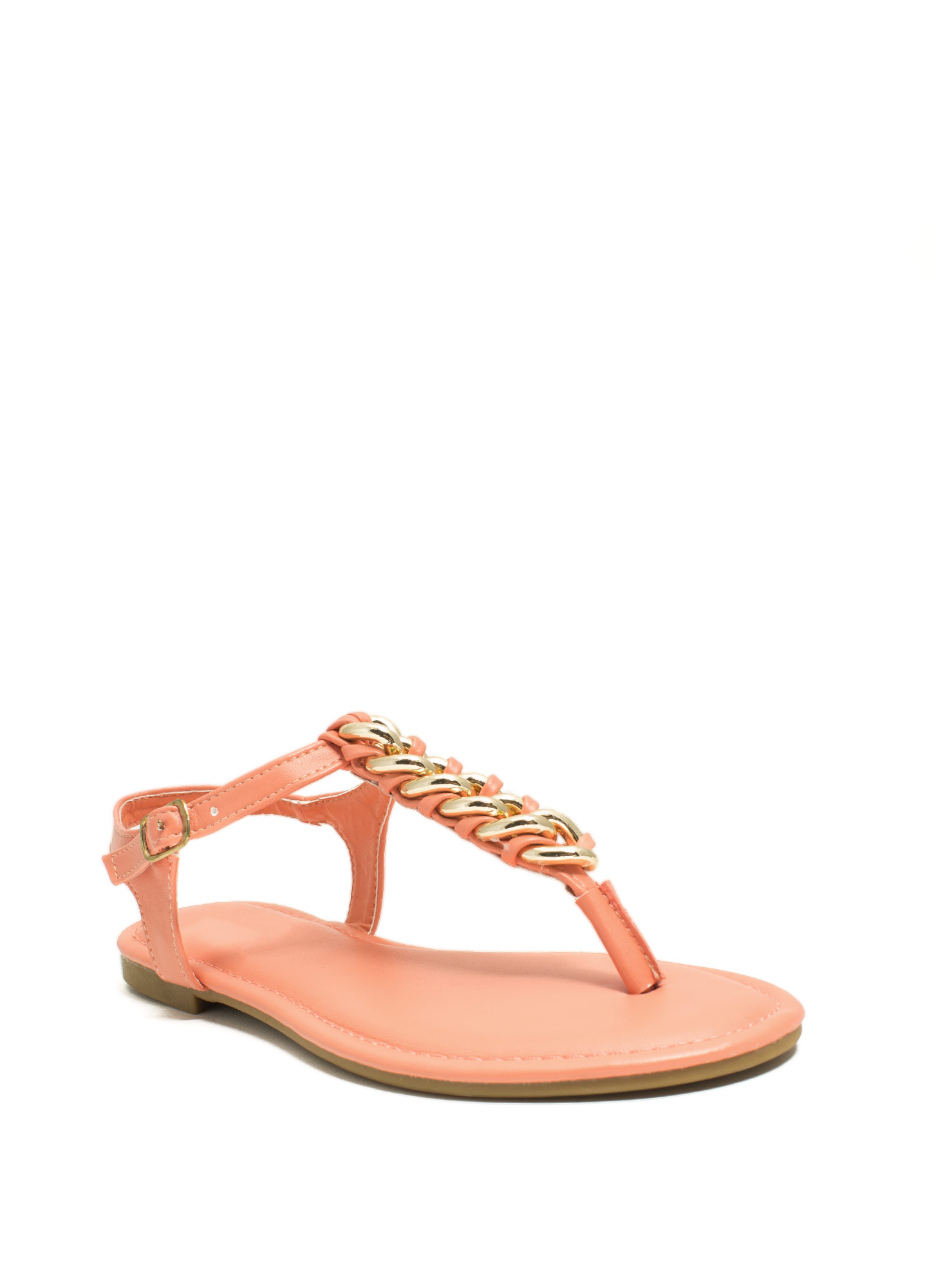 Braided Chains T-Strap Sandals CORAL