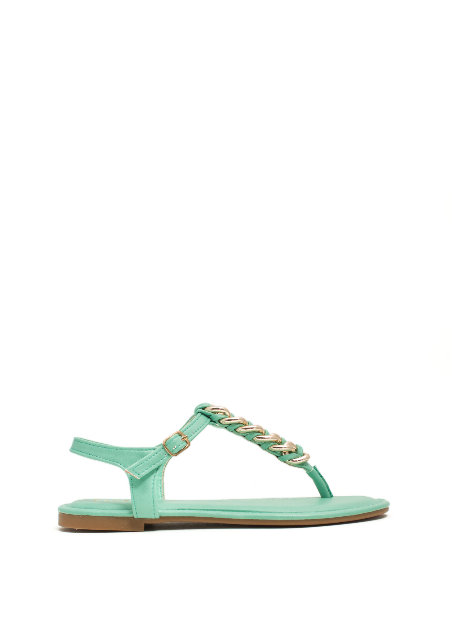 Braided Chains T-Strap Sandals MINT