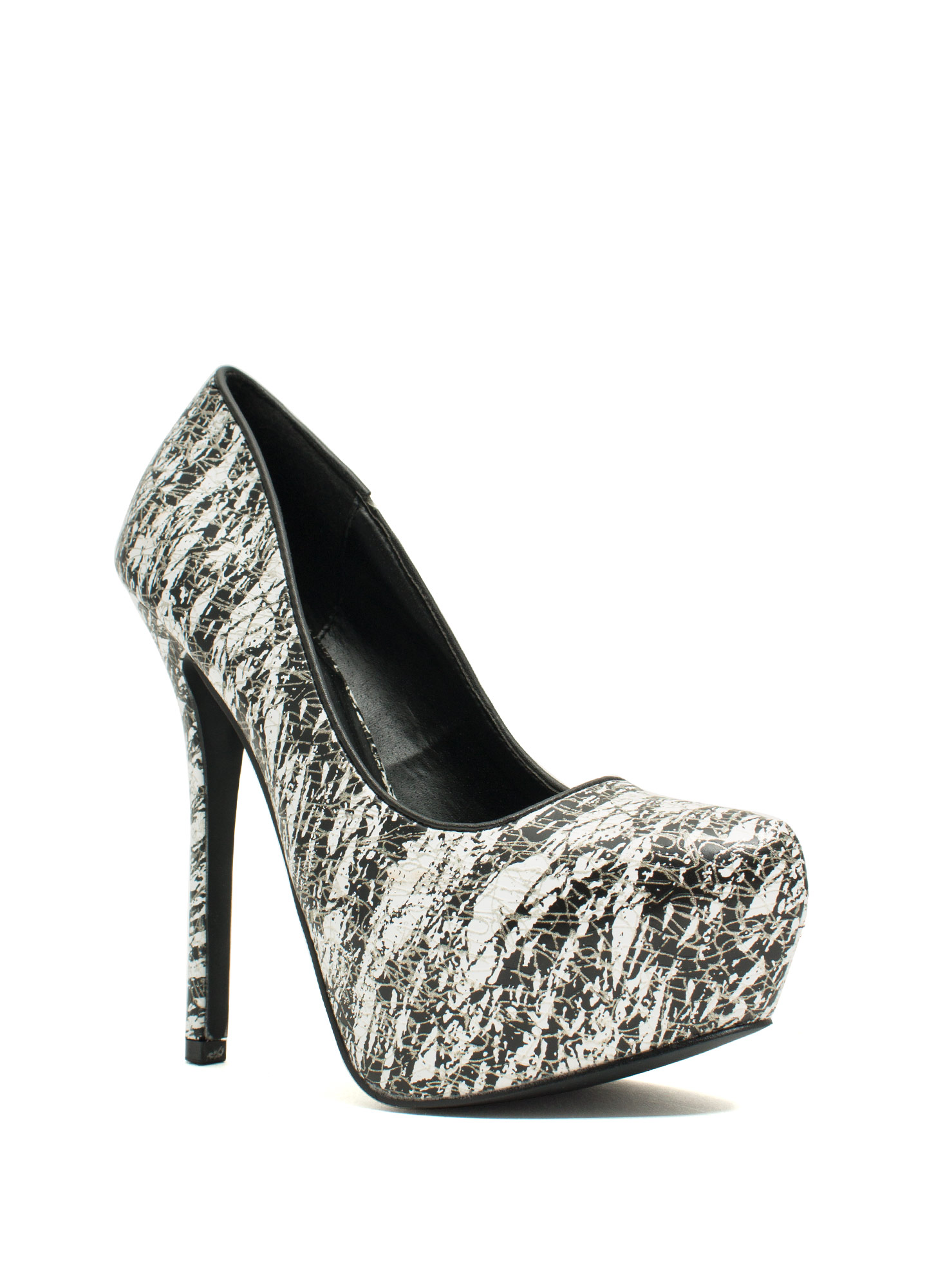 Make A Statement Printed Platform Heels BLACKWHITE