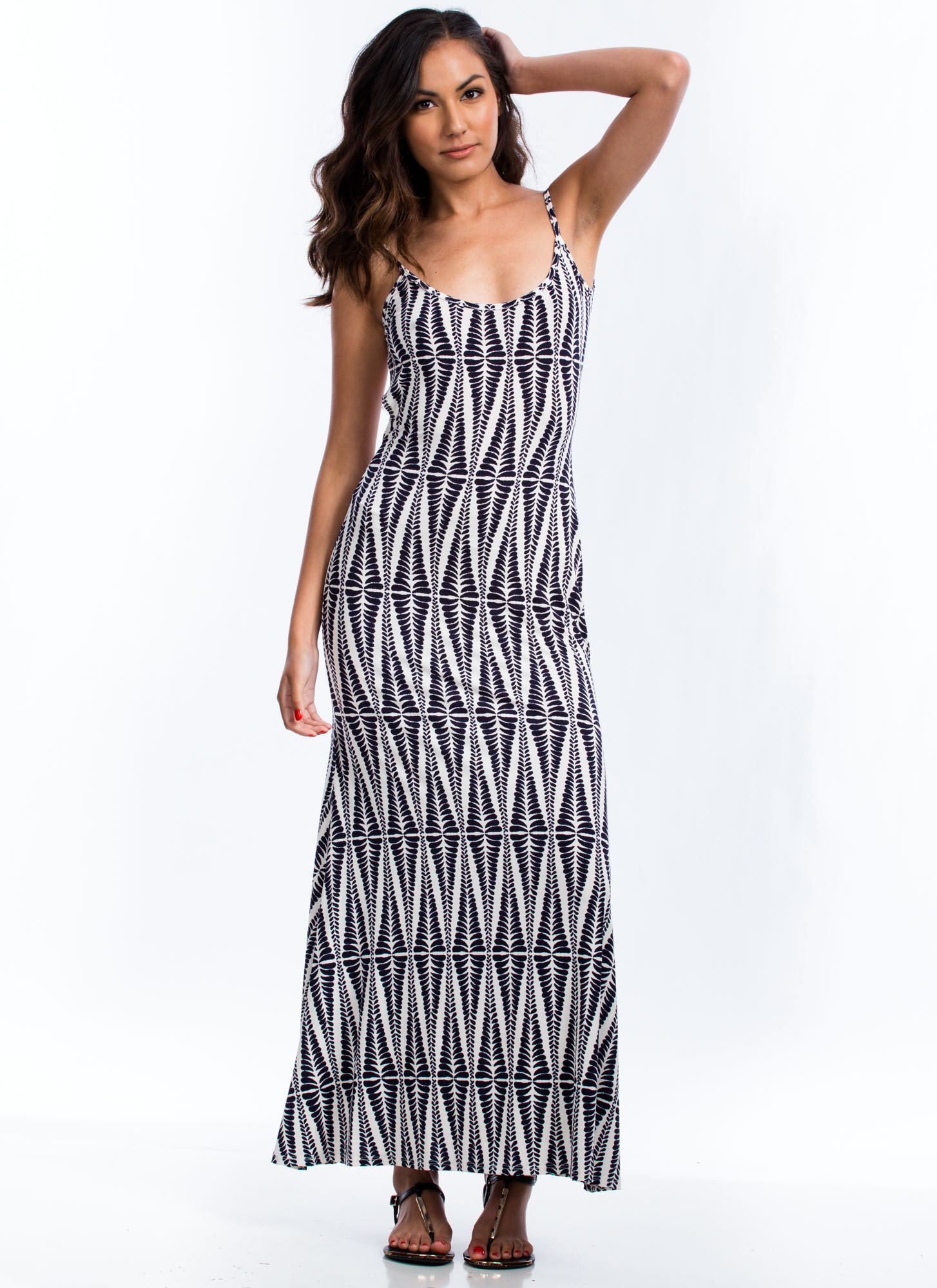 Abstract Leaves Maxi Dress NAVY (Final Sale)