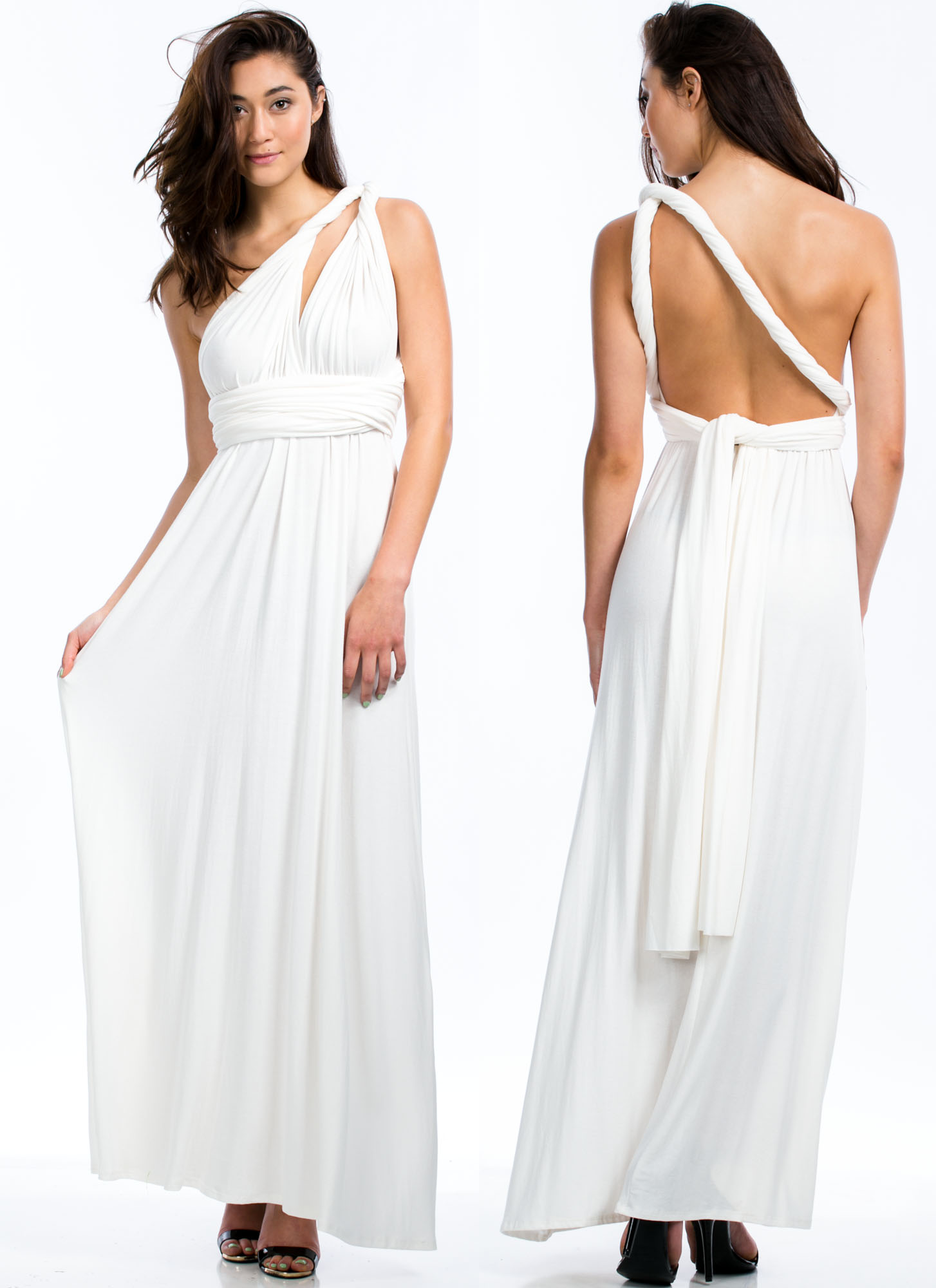 Convertible Goddess Maxi Dress OFFWHITE