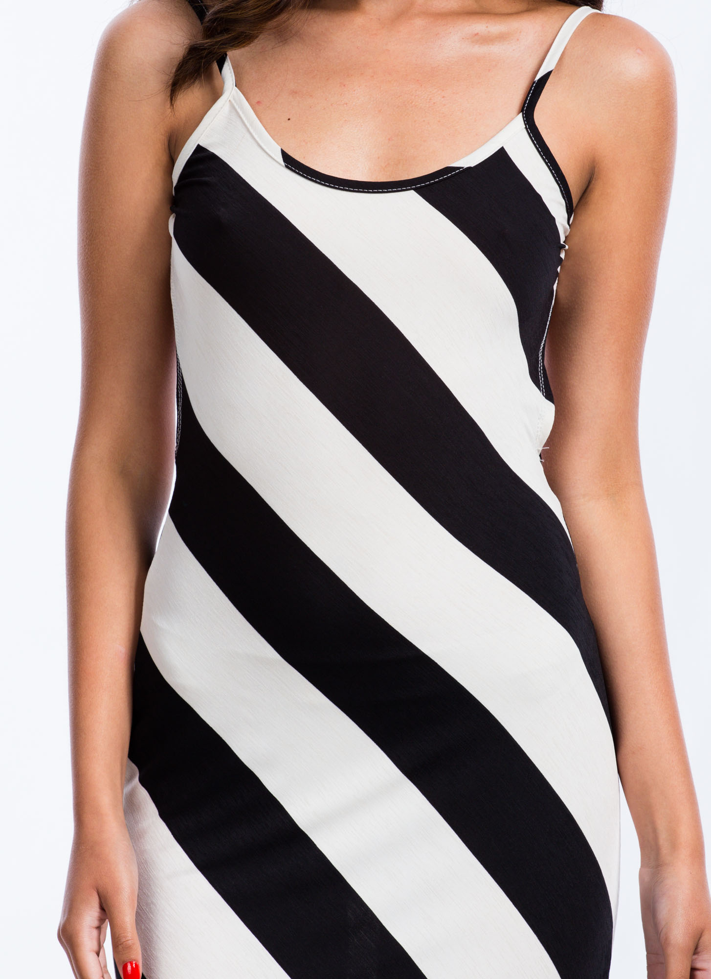 Wide Stripe Maxi Dress BLACKWHITE
