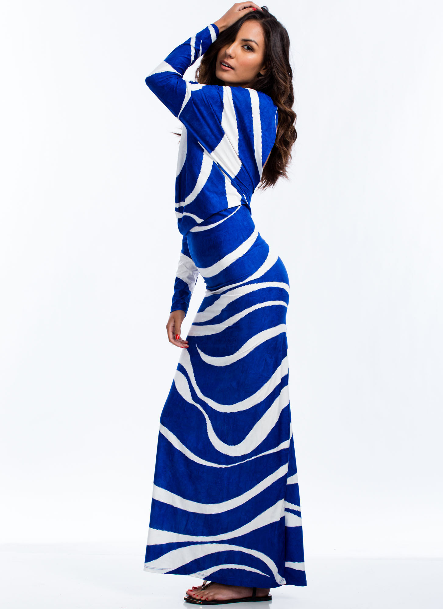 Draped Crusader Swirled Maxi Dress WHITEBLUE