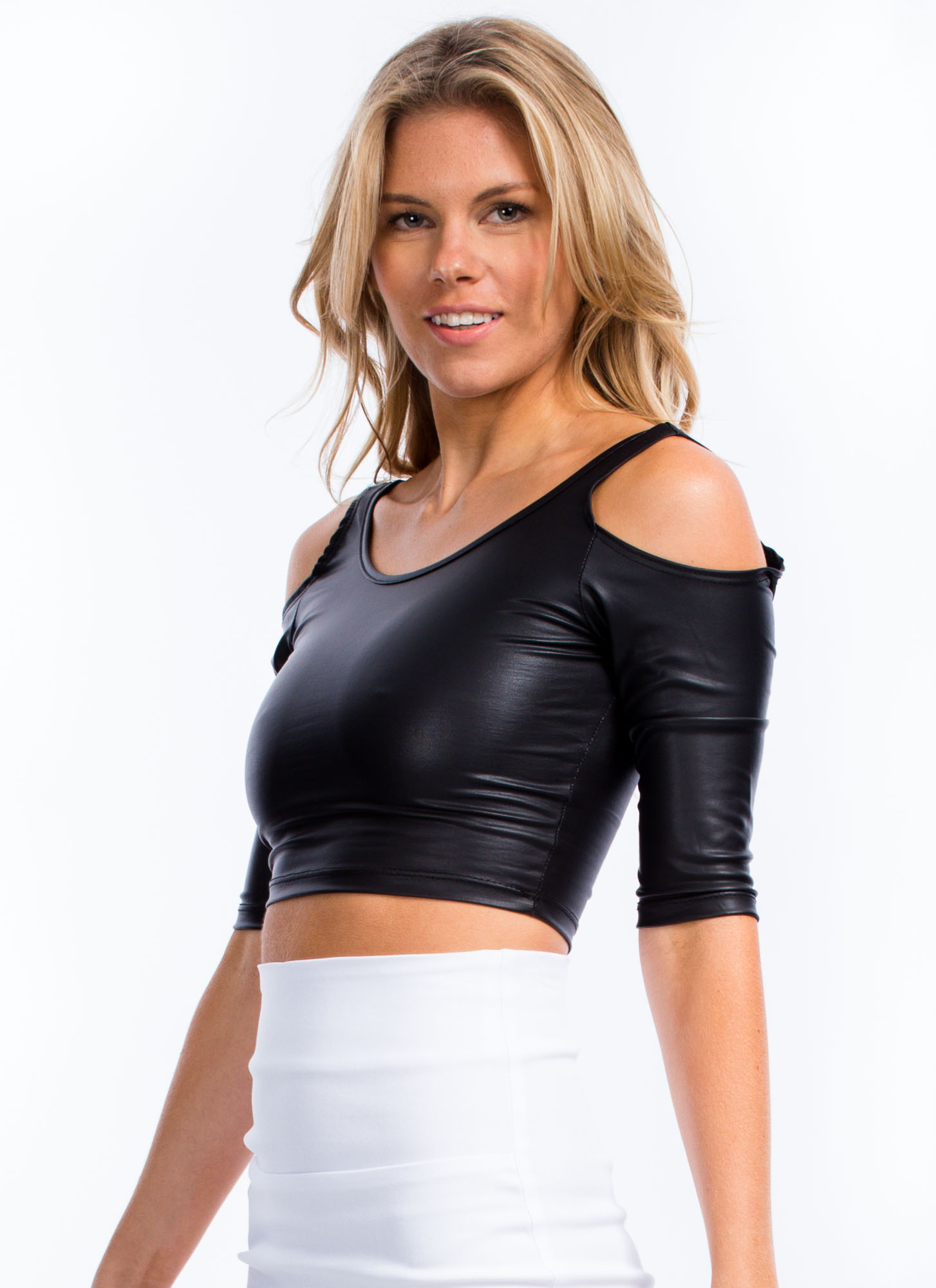 Slick And Cold Shoulder Cropped Top BLACK