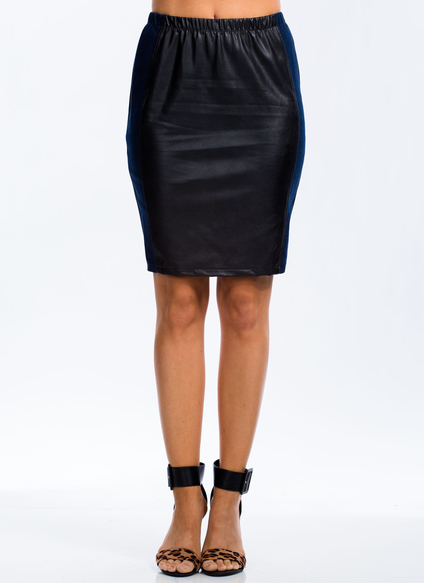 Get Your Fix Mixed Media Pencil Skirt BLACK