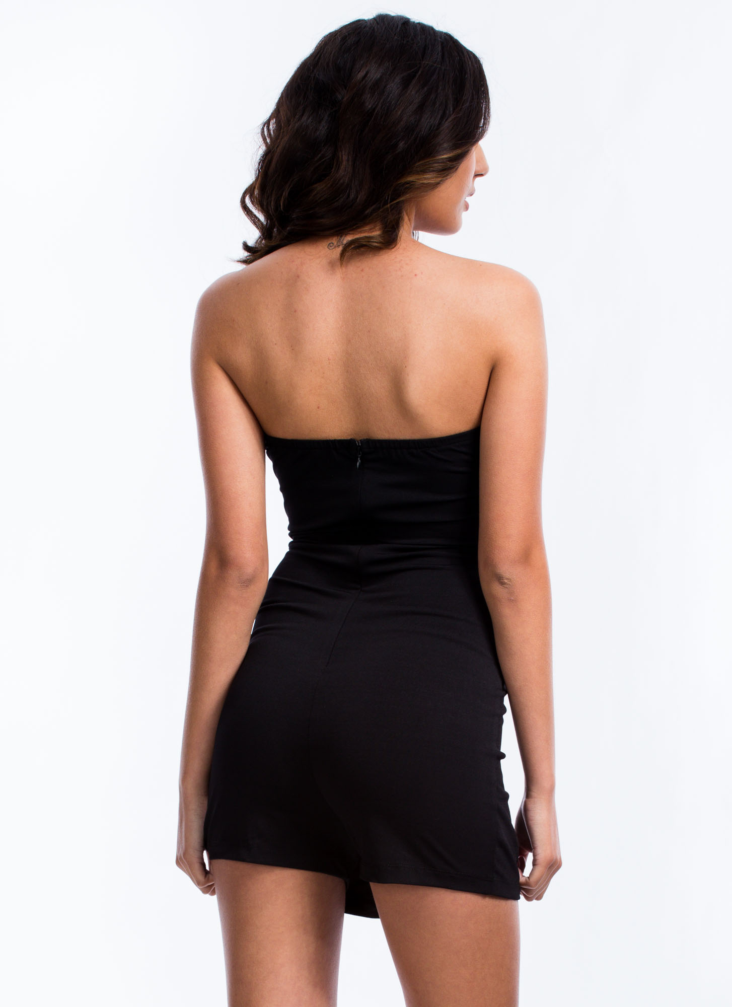 To The Nines Strapless Tuxedo Romper BLACK