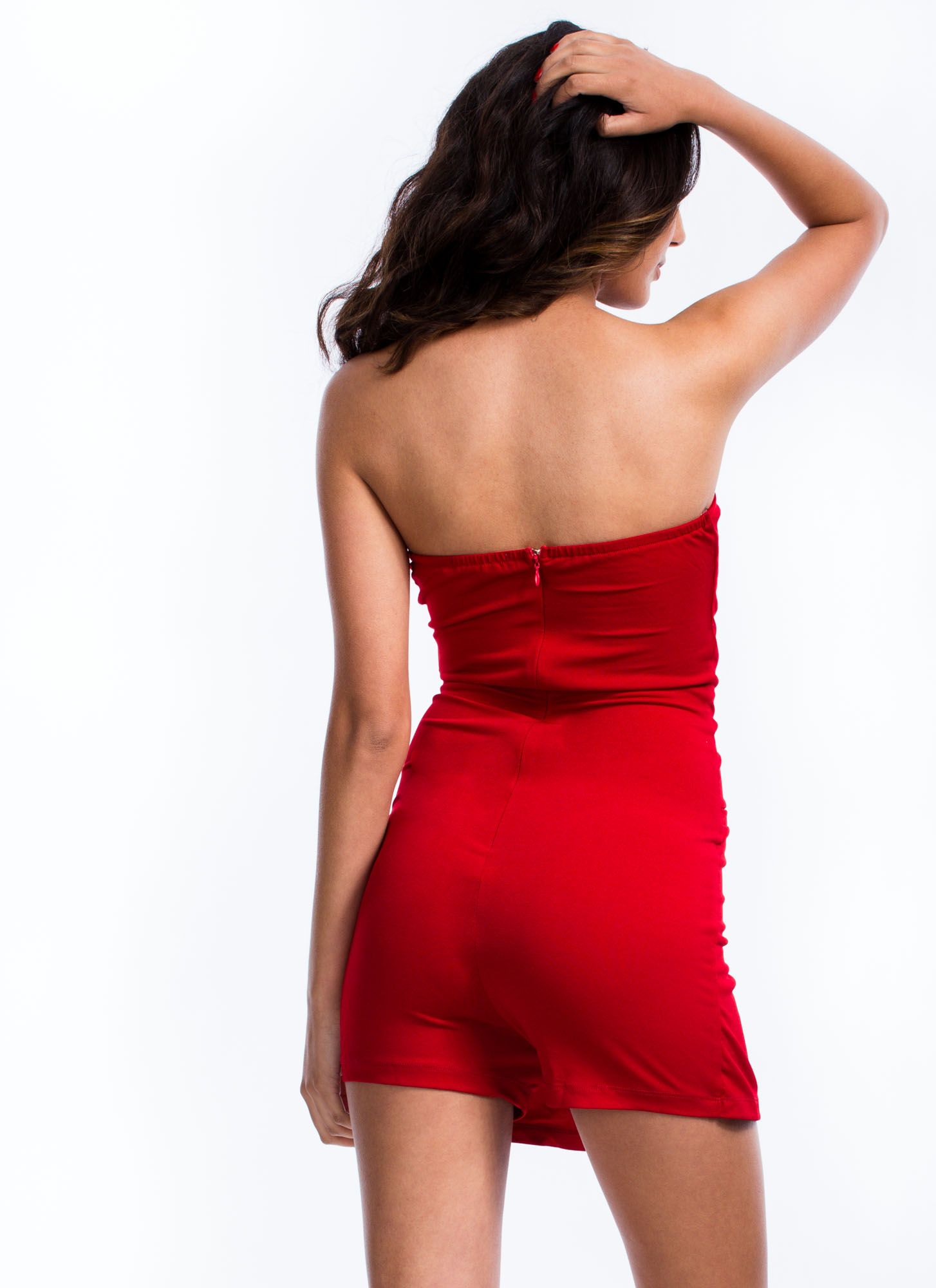 To The Nines Strapless Tuxedo Romper RED
