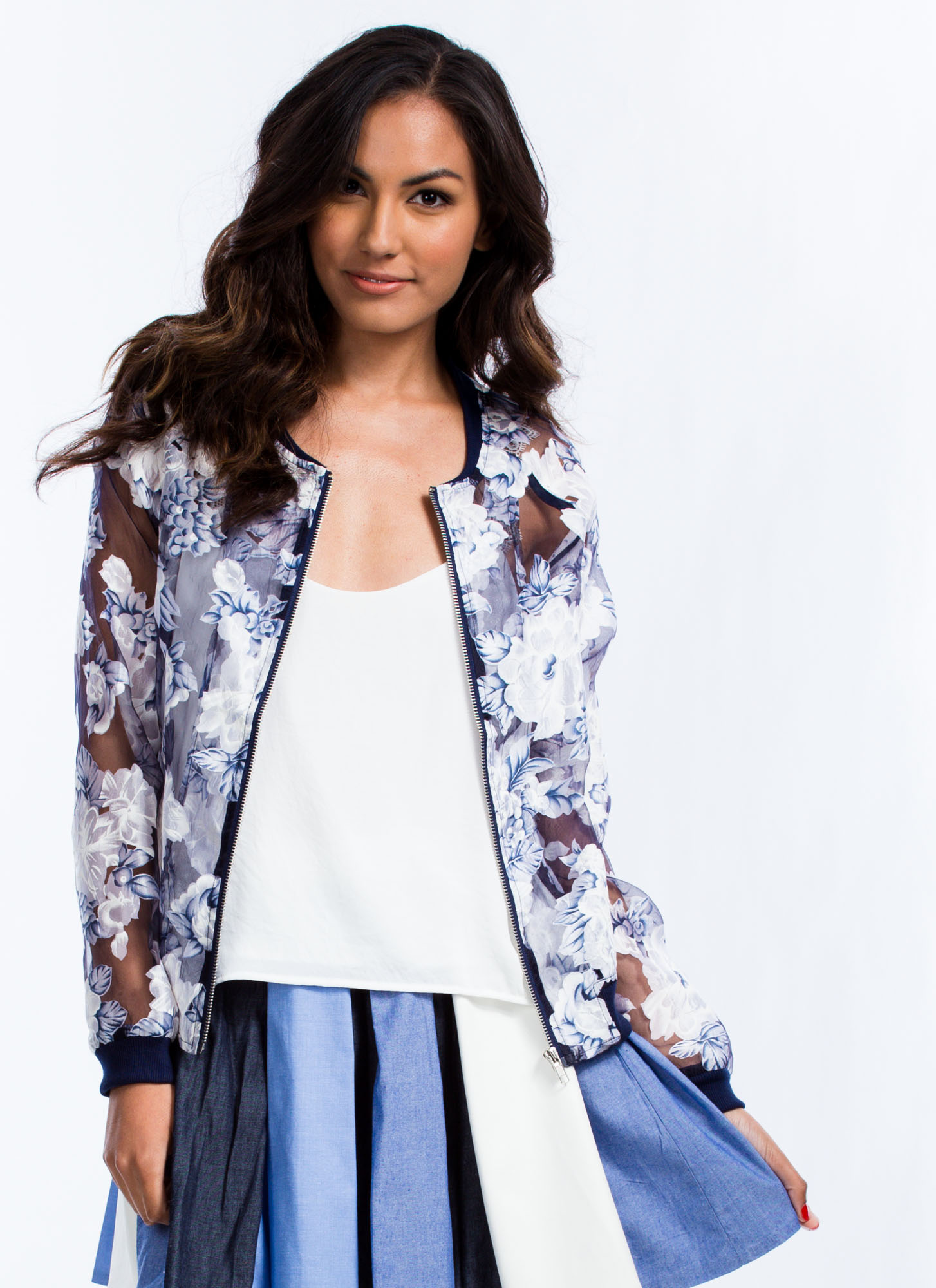 Sheer Pressure Organza Bomber Jacket BLUE (Final Sale)
