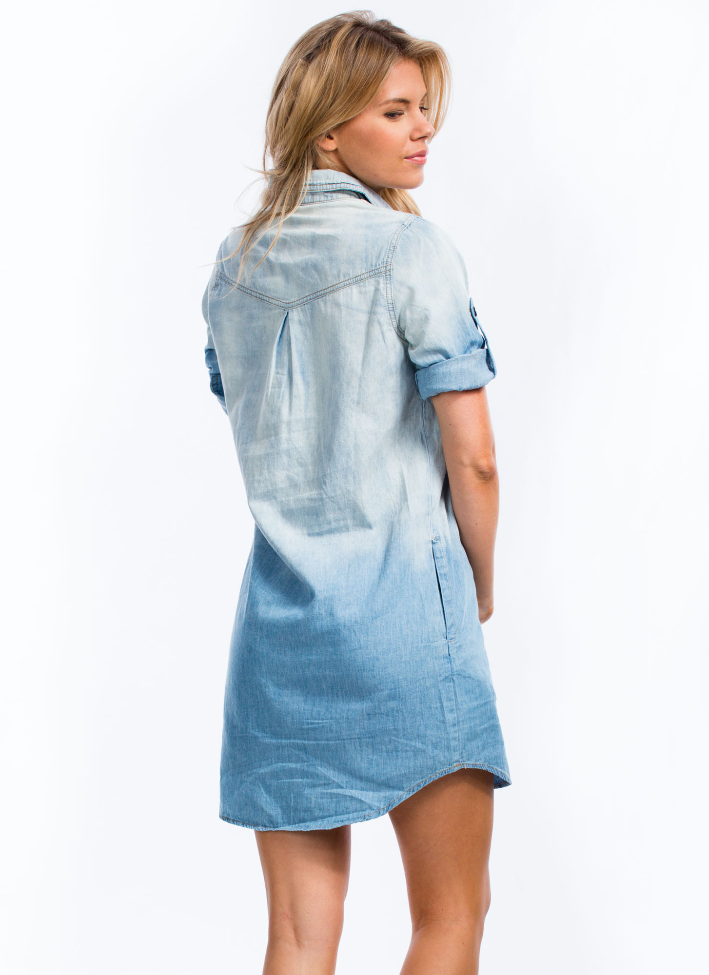 Ombre Chambray Shift Dress DENIM