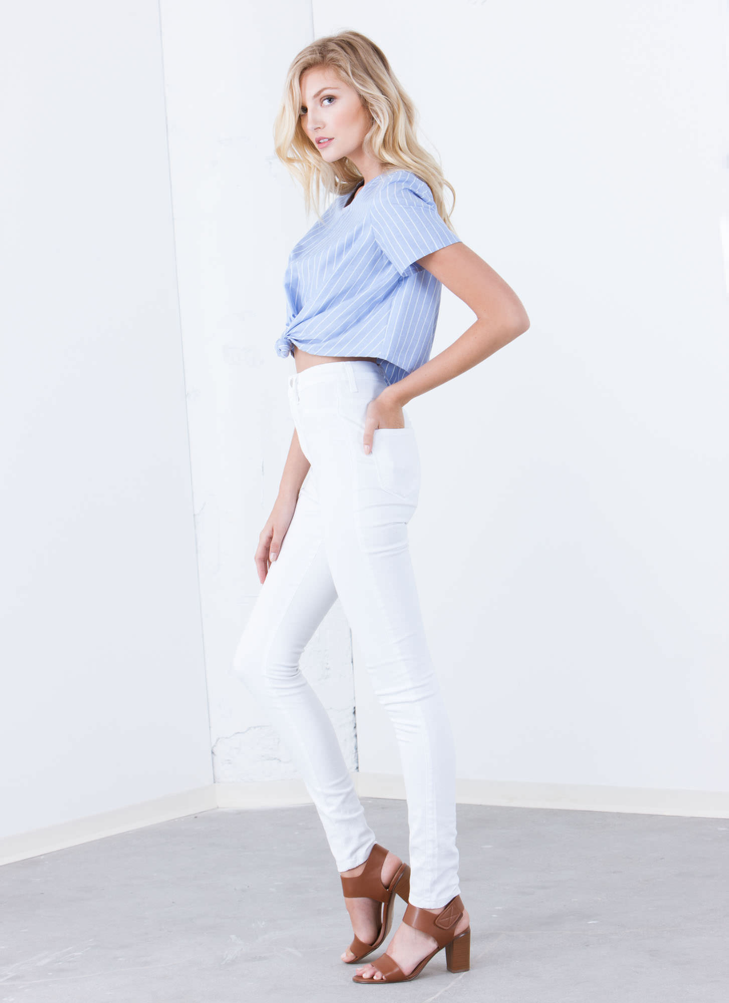 Tie The Knot Pinstriped Cropped Top BLUE