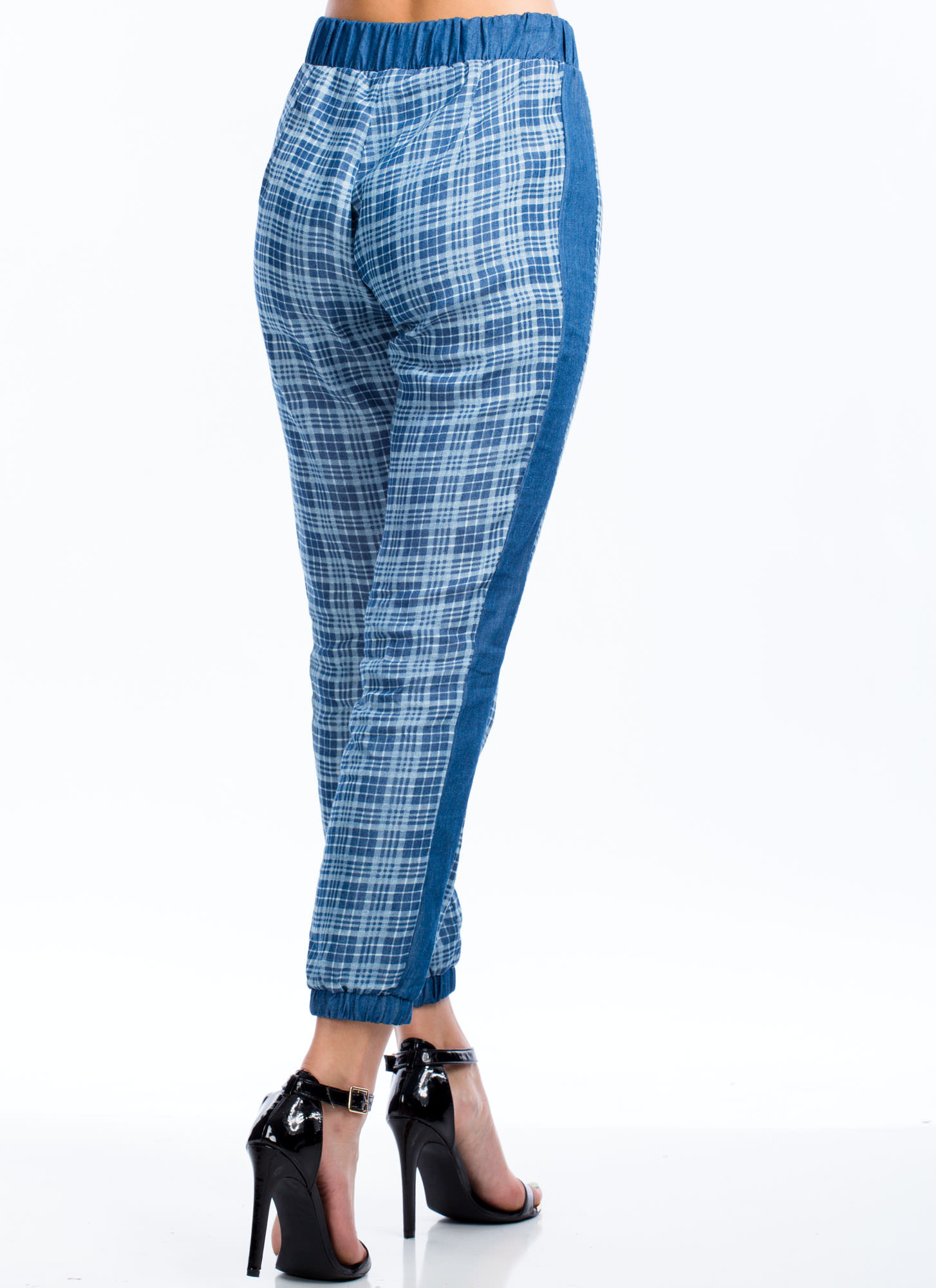 Run And Tell Plaid Chambray Joggers BLUE