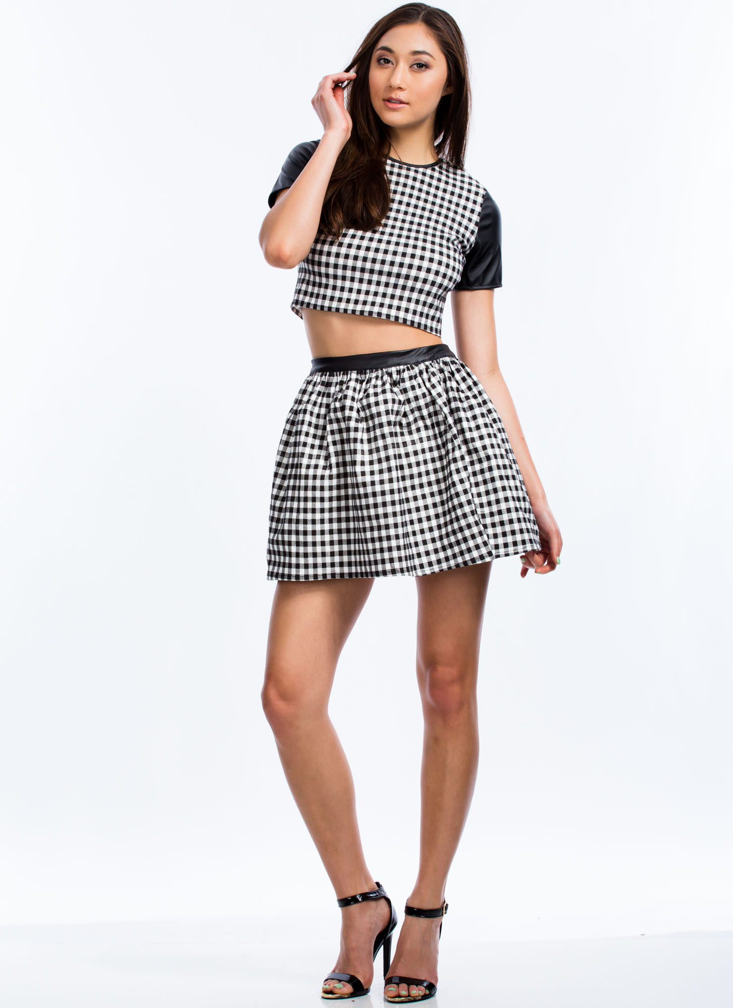 Gingham Style Contrast Sleeve Top BLACKWHITE