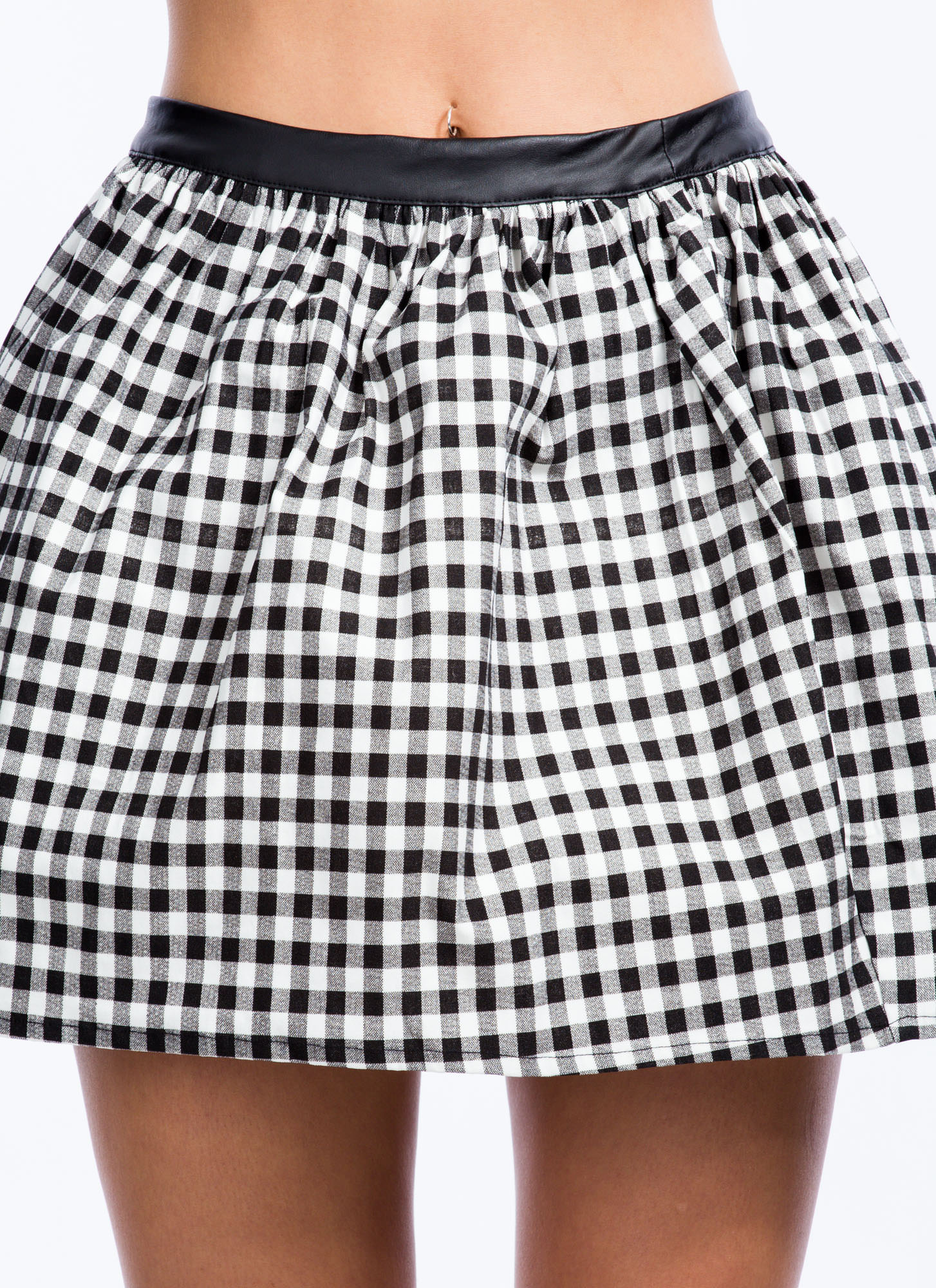 Gingham Style Tulle Skater Skirt BLACKWHITE (Final Sale)