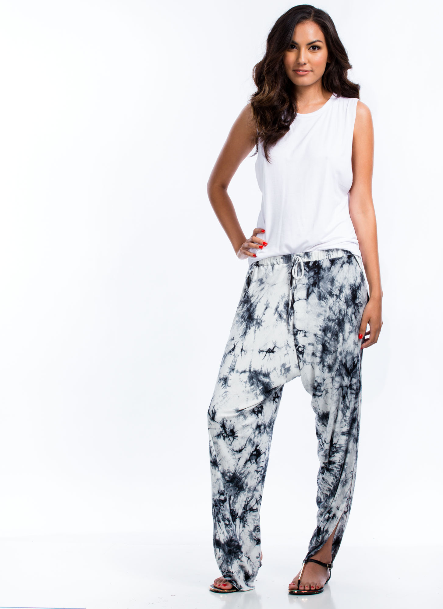 Tie-Dye For Split Drop Crotch Pants WHITE