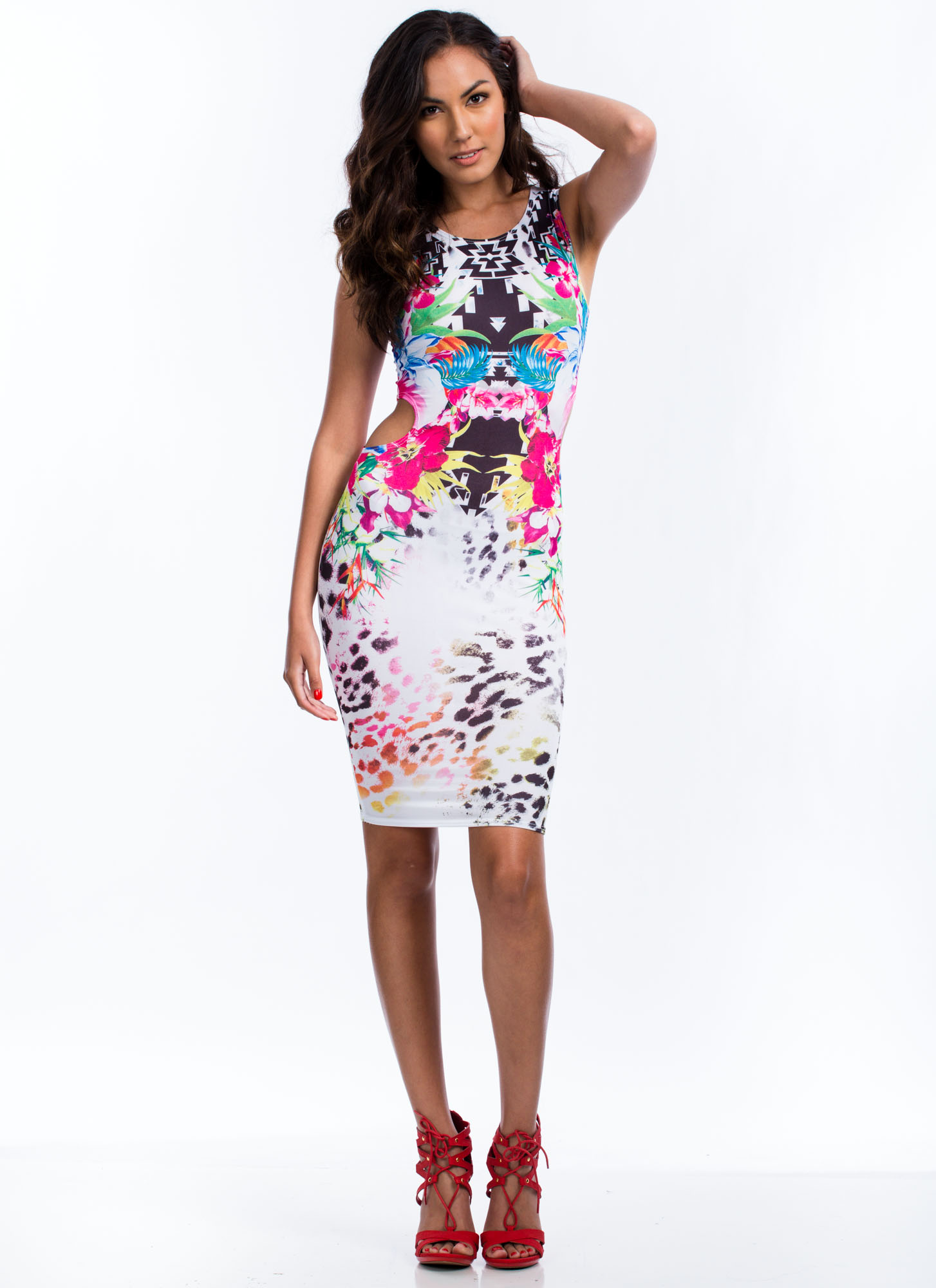 Mirrored Exotic Cut-Out Dress WHITE