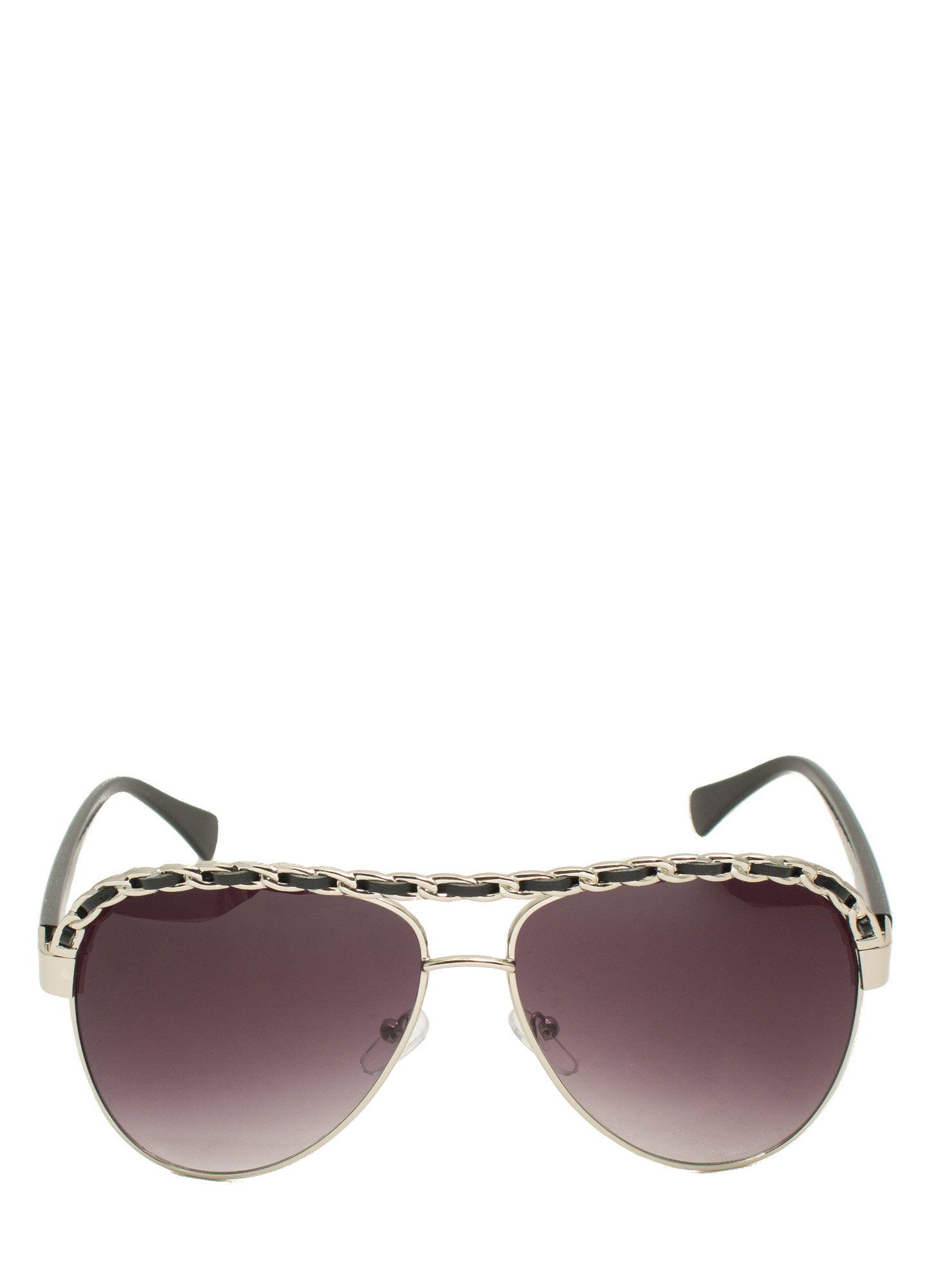Chain Trimmed Aviator Sunglasses BLACKSILVER