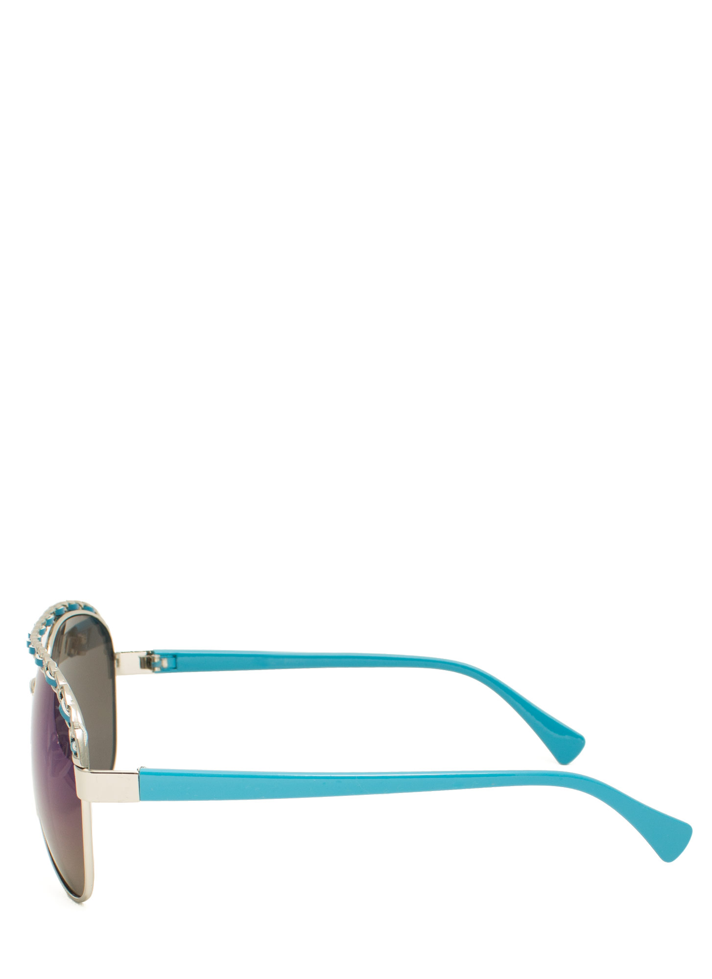 Chain Trimmed Aviator Sunglasses BLUESILVER
