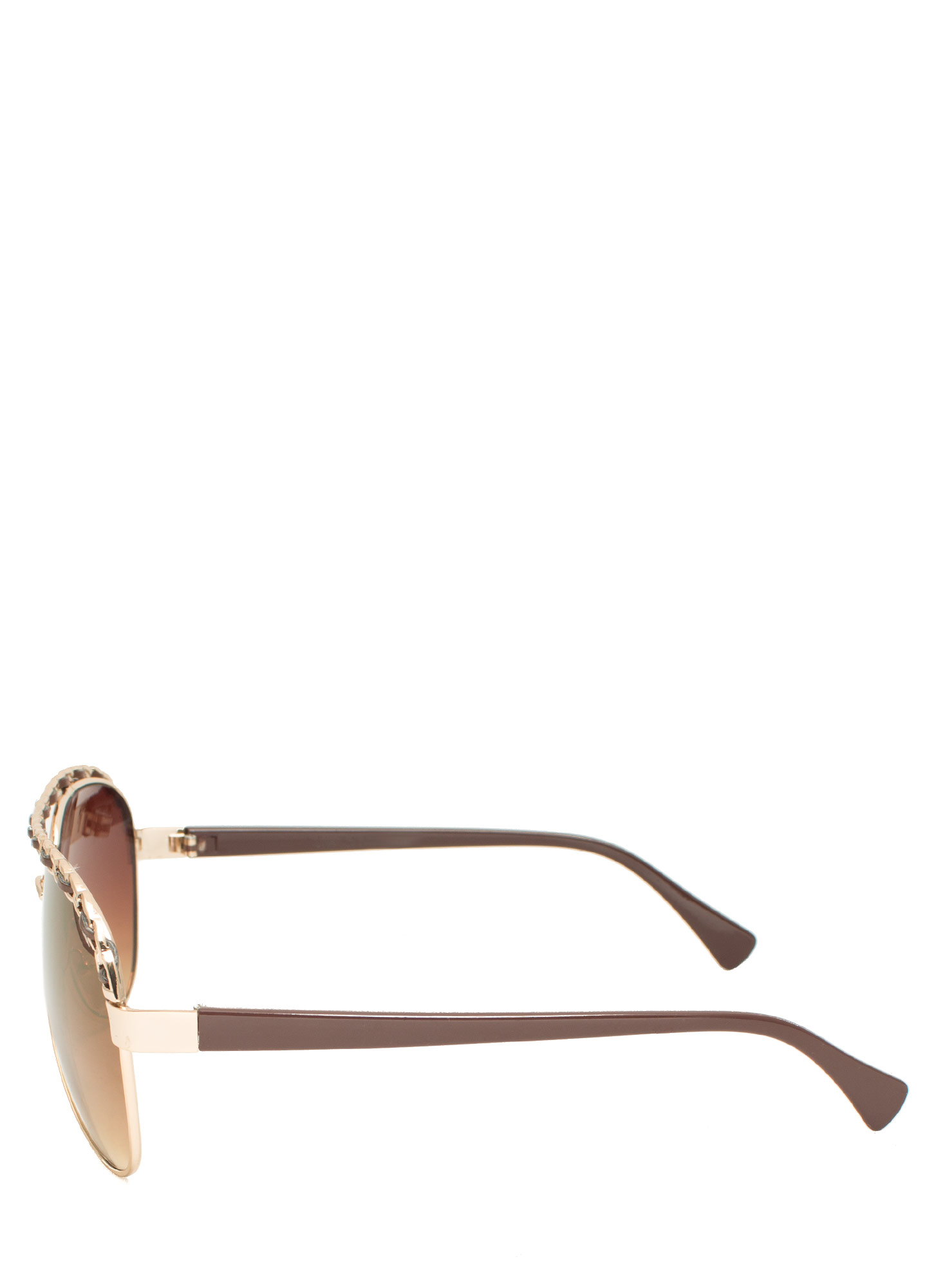 Chain Trimmed Aviator Sunglasses BROWNGOLD