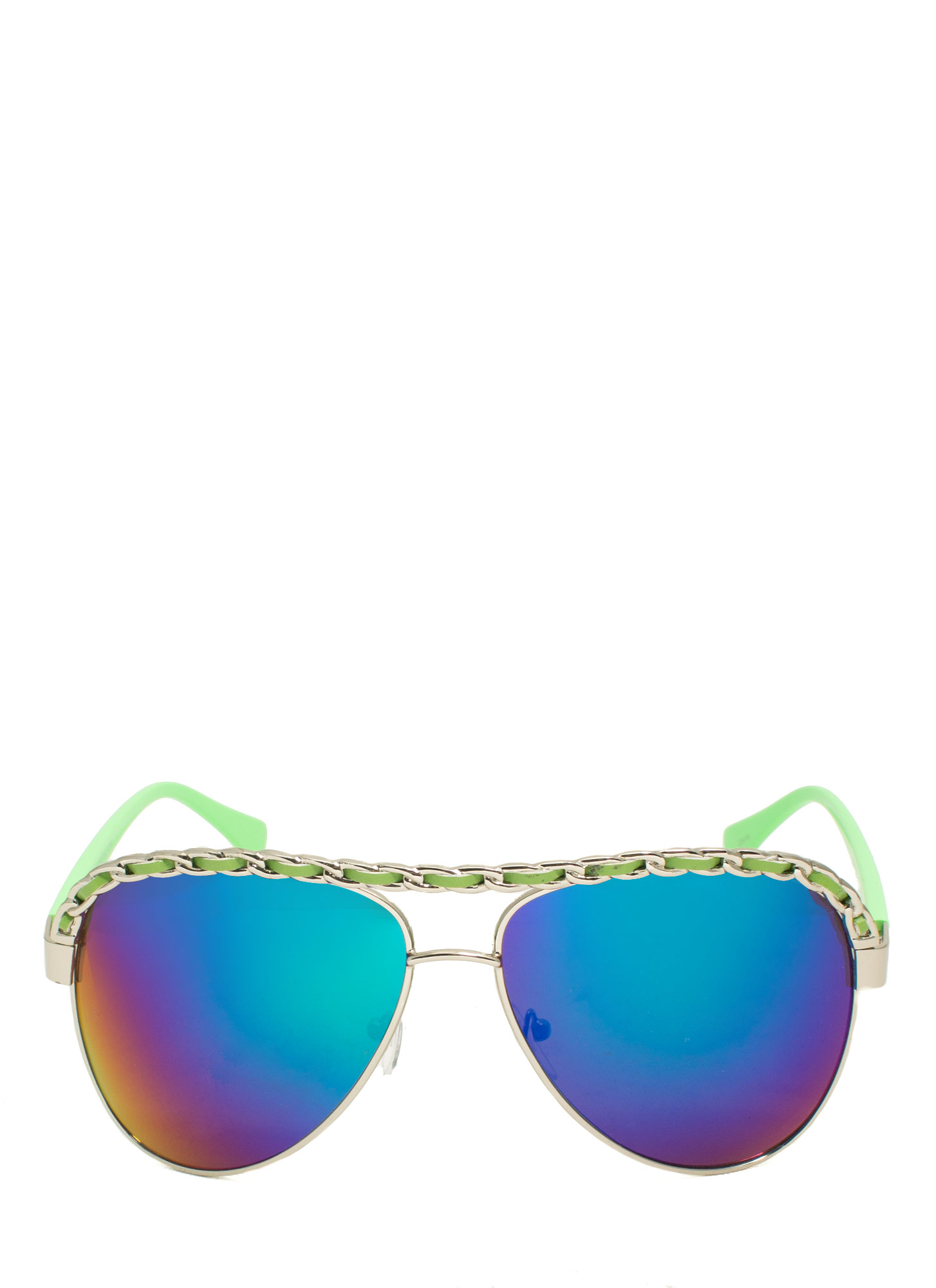 Chain Trimmed Aviator Sunglasses LIMESILVER