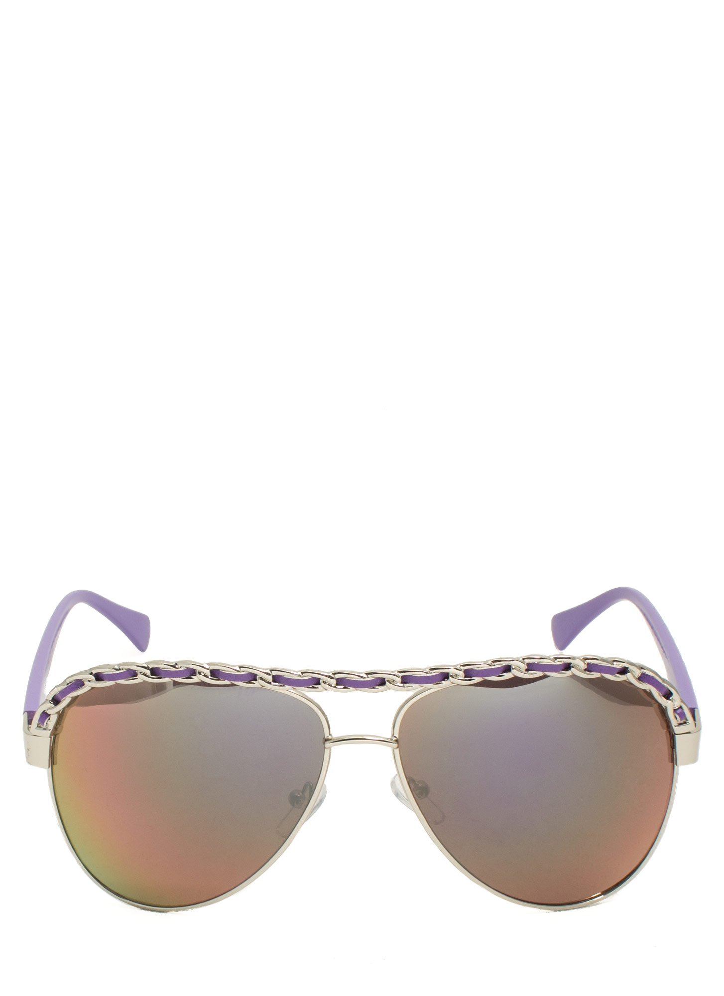 Chain Trimmed Aviator Sunglasses PURPSILVER