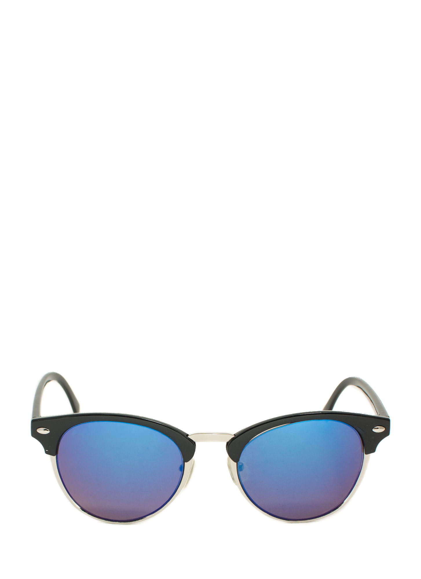 Top Accent Reflective Sunglasses BLUESILVER