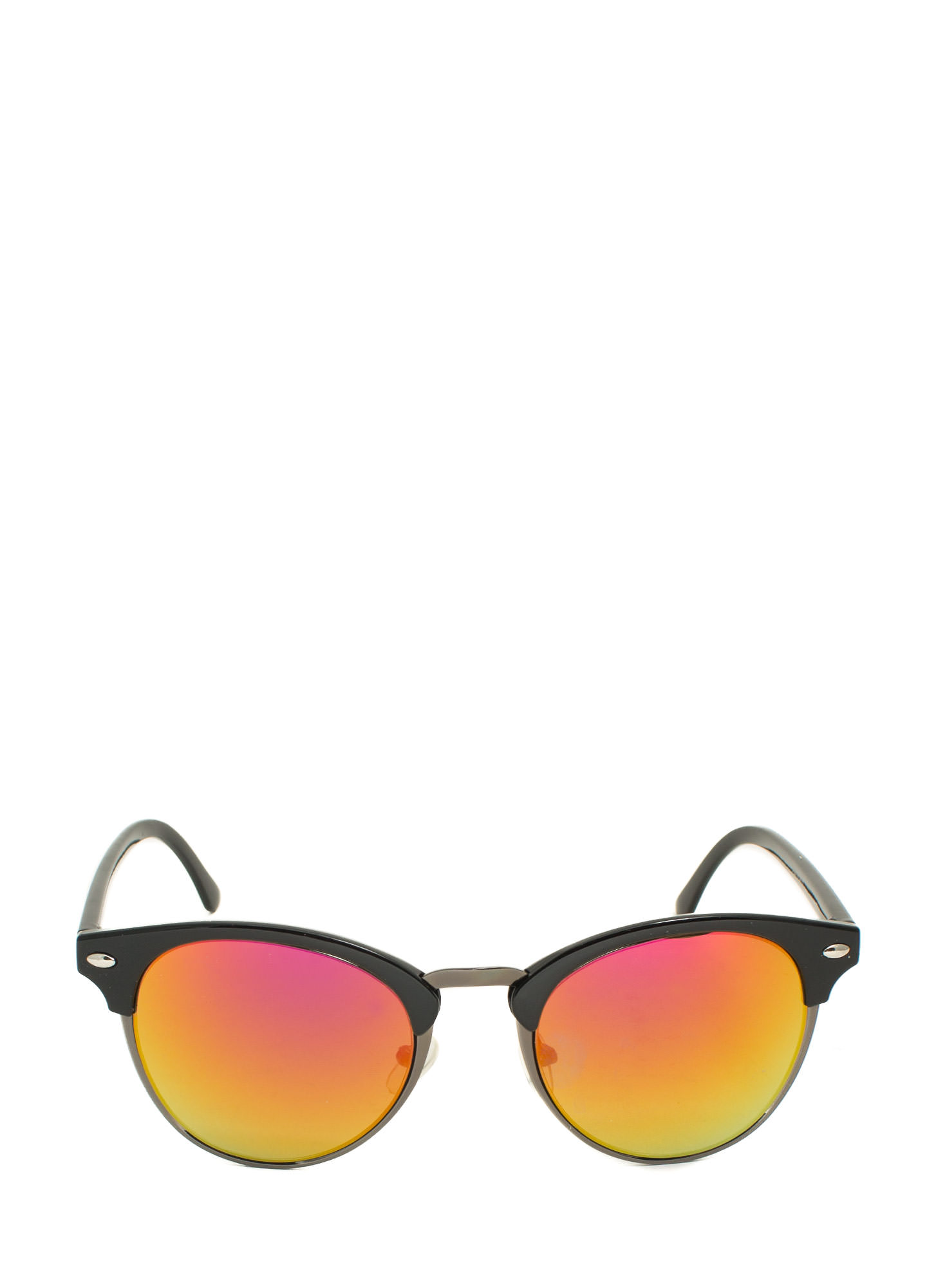Top Accent Reflective Sunglasses ORANGEBLACK