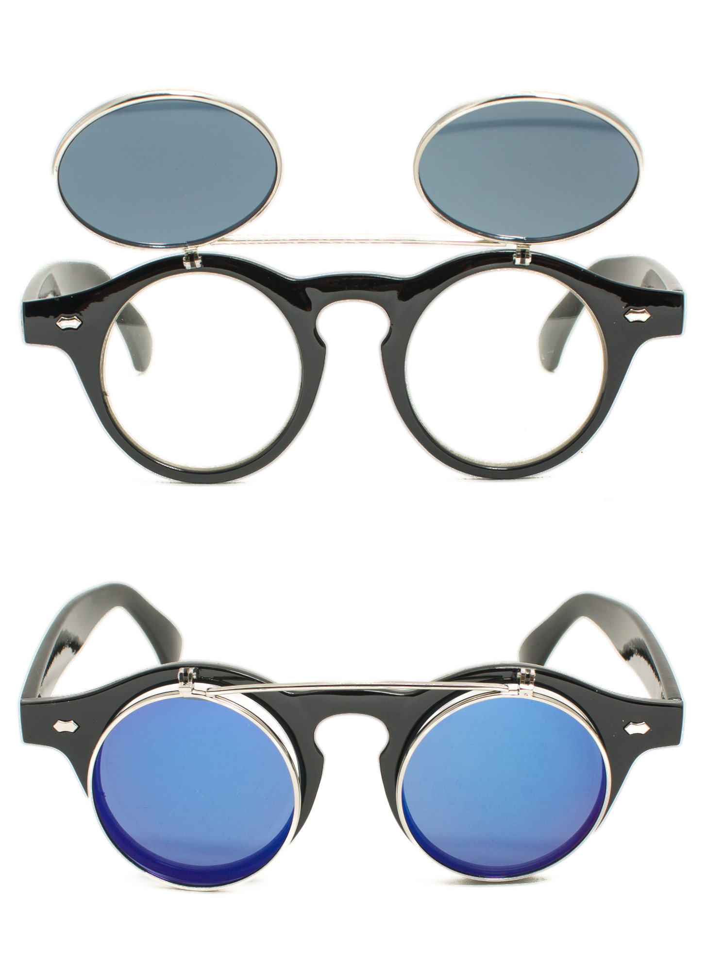 Round Reflective Flip-Up Sunglasses BLUEBLACK
