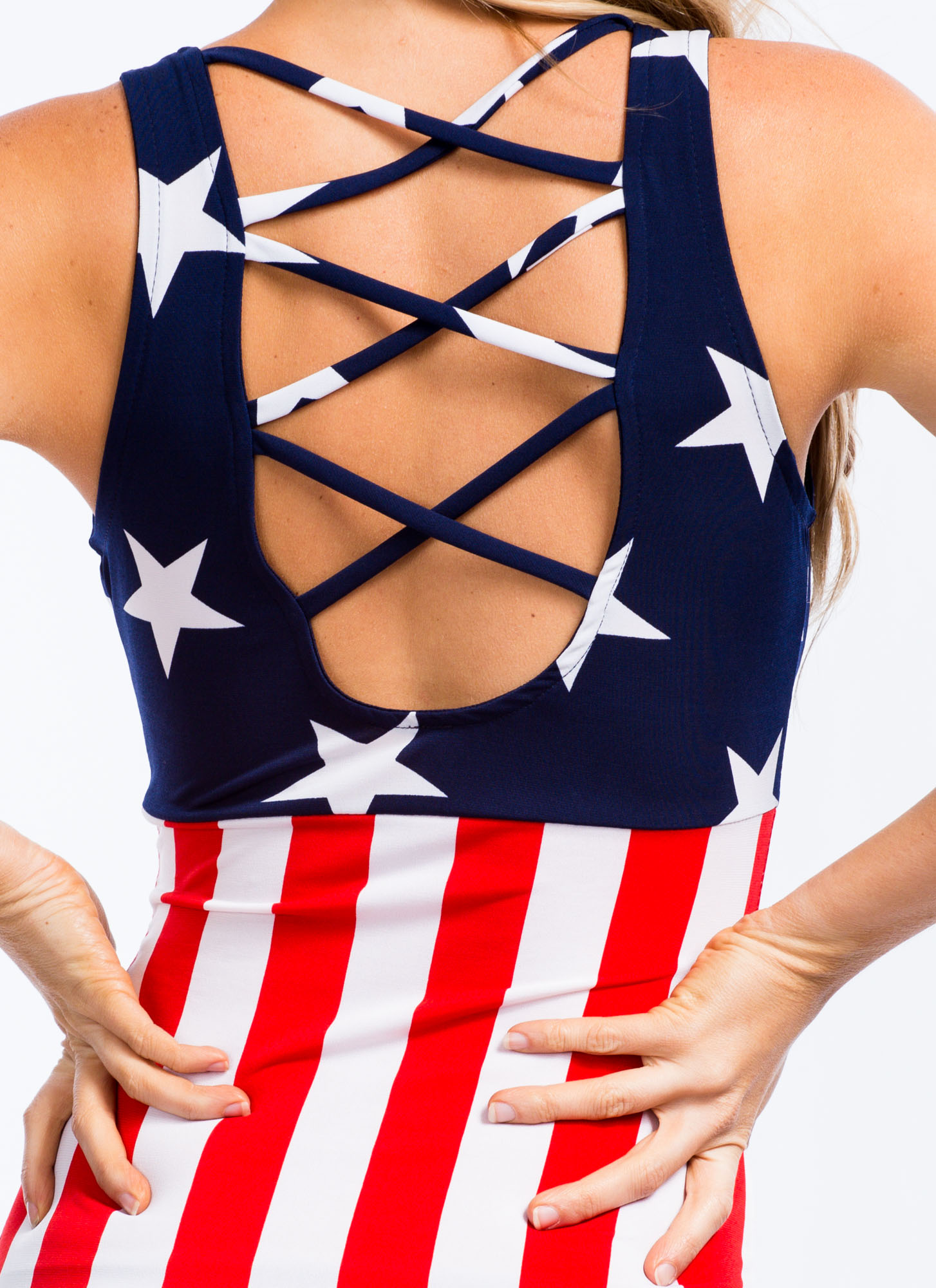 See Stars Strappy American Flag Dress REDBLUE