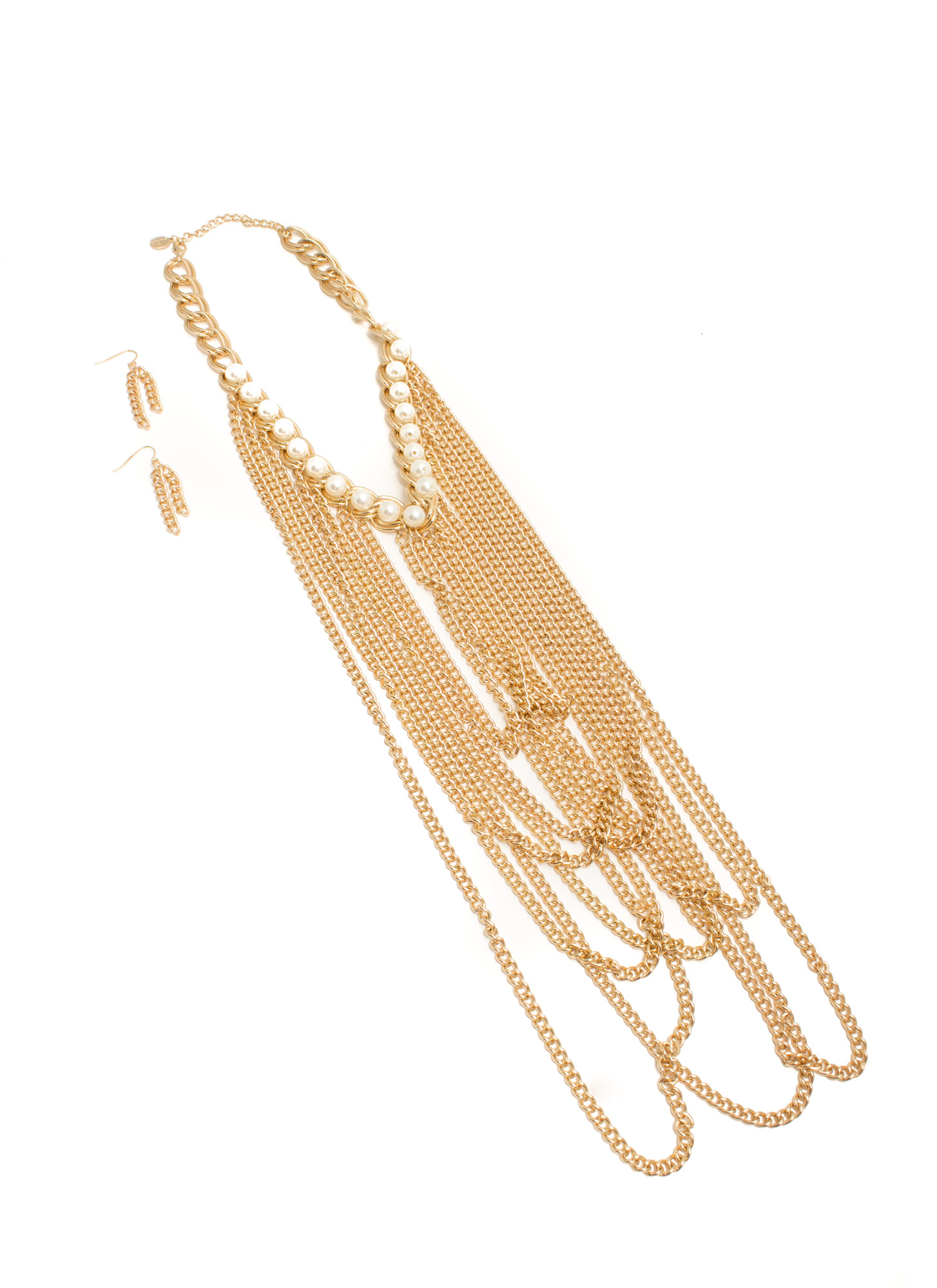 Draped 'N Looped Chain Link Necklace Set  GOLDIVORY