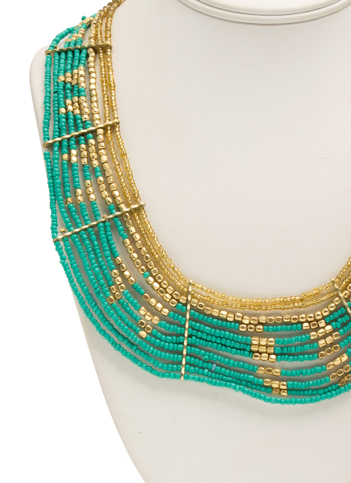 Metallic Bead Tribal Collar Necklace TURQGOLD