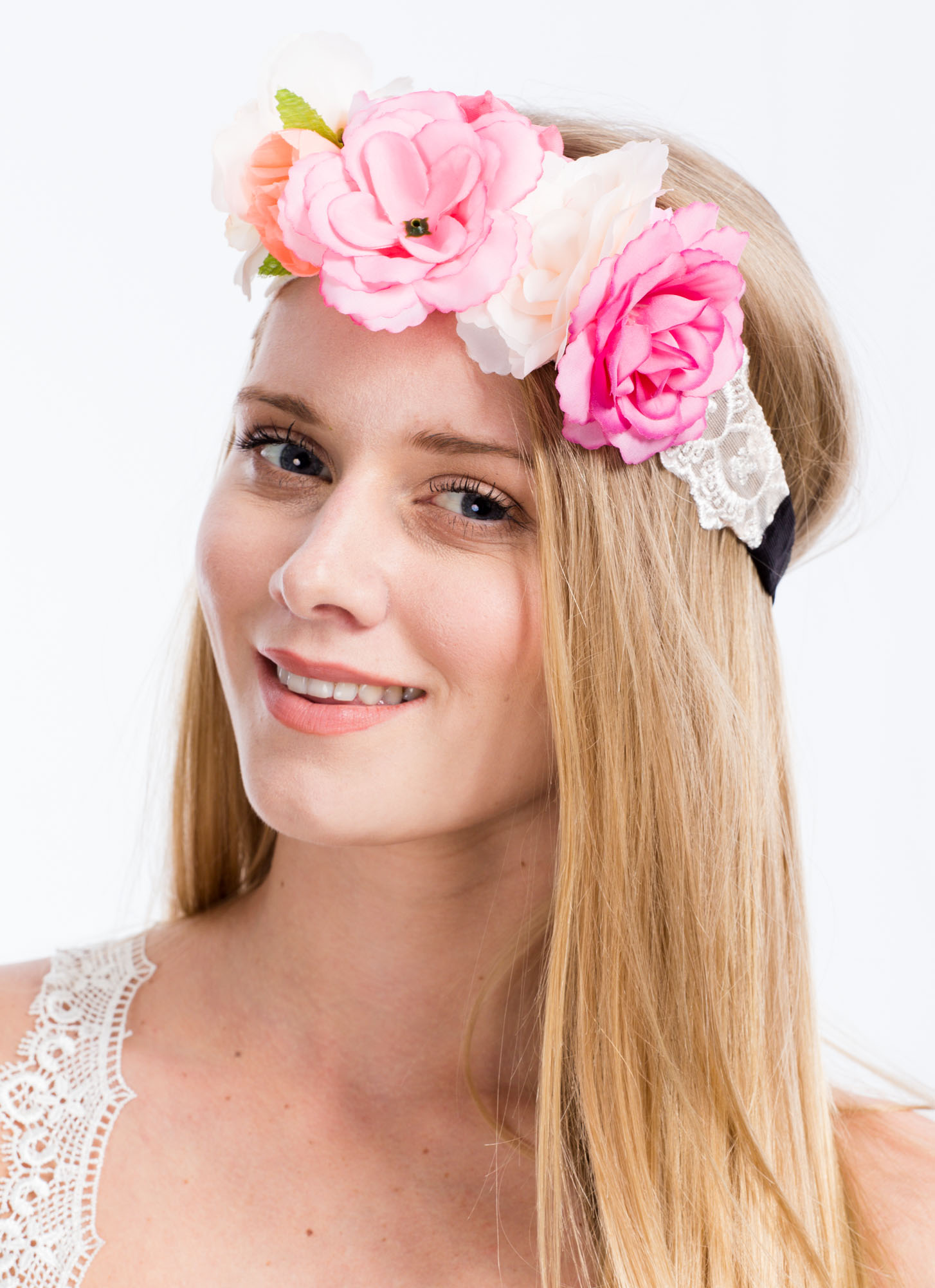 Sheer Scalloped Lace Flower Headband PINKMULTI
