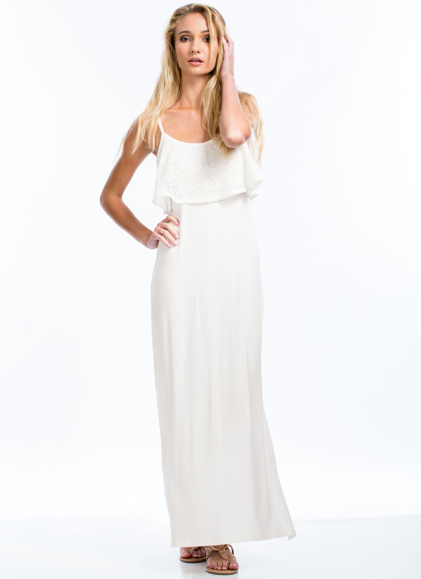 Tiering Up Strappy Crochet Top Maxi IVORY
