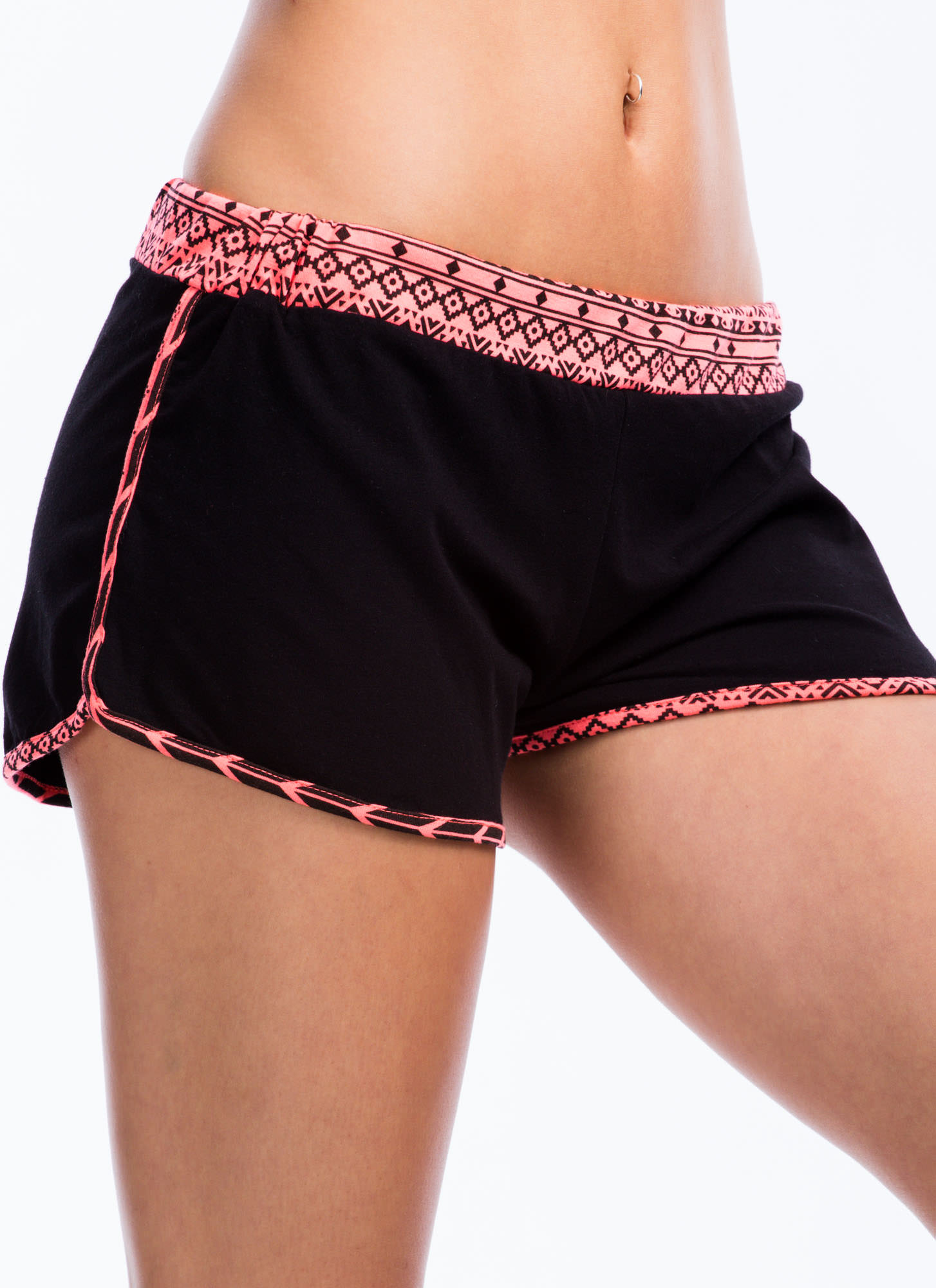 Tribe To Be Active Neon Trim Shorts PINK
