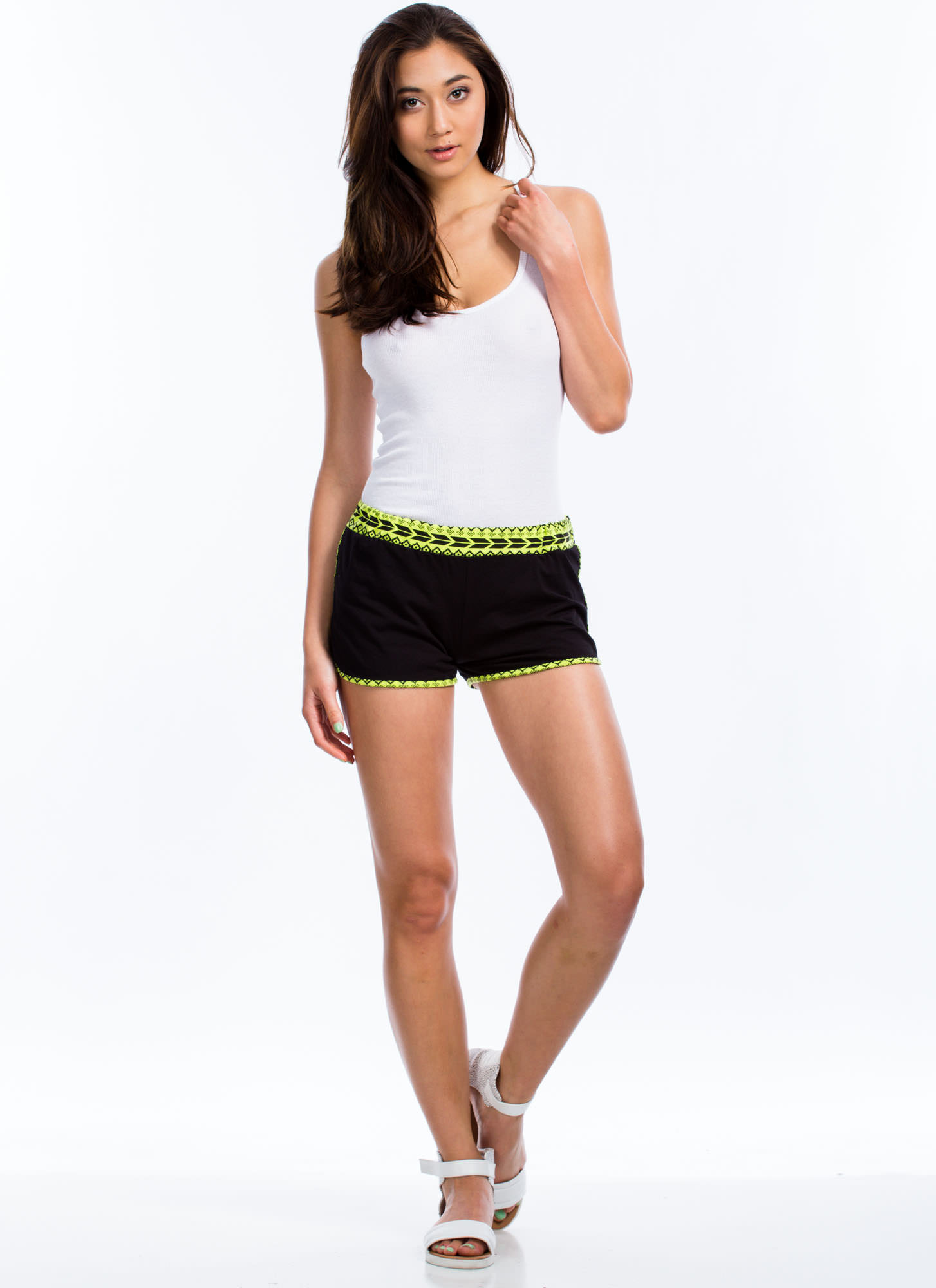 Tribe To Be Active Neon Trim Shorts YELLOW
