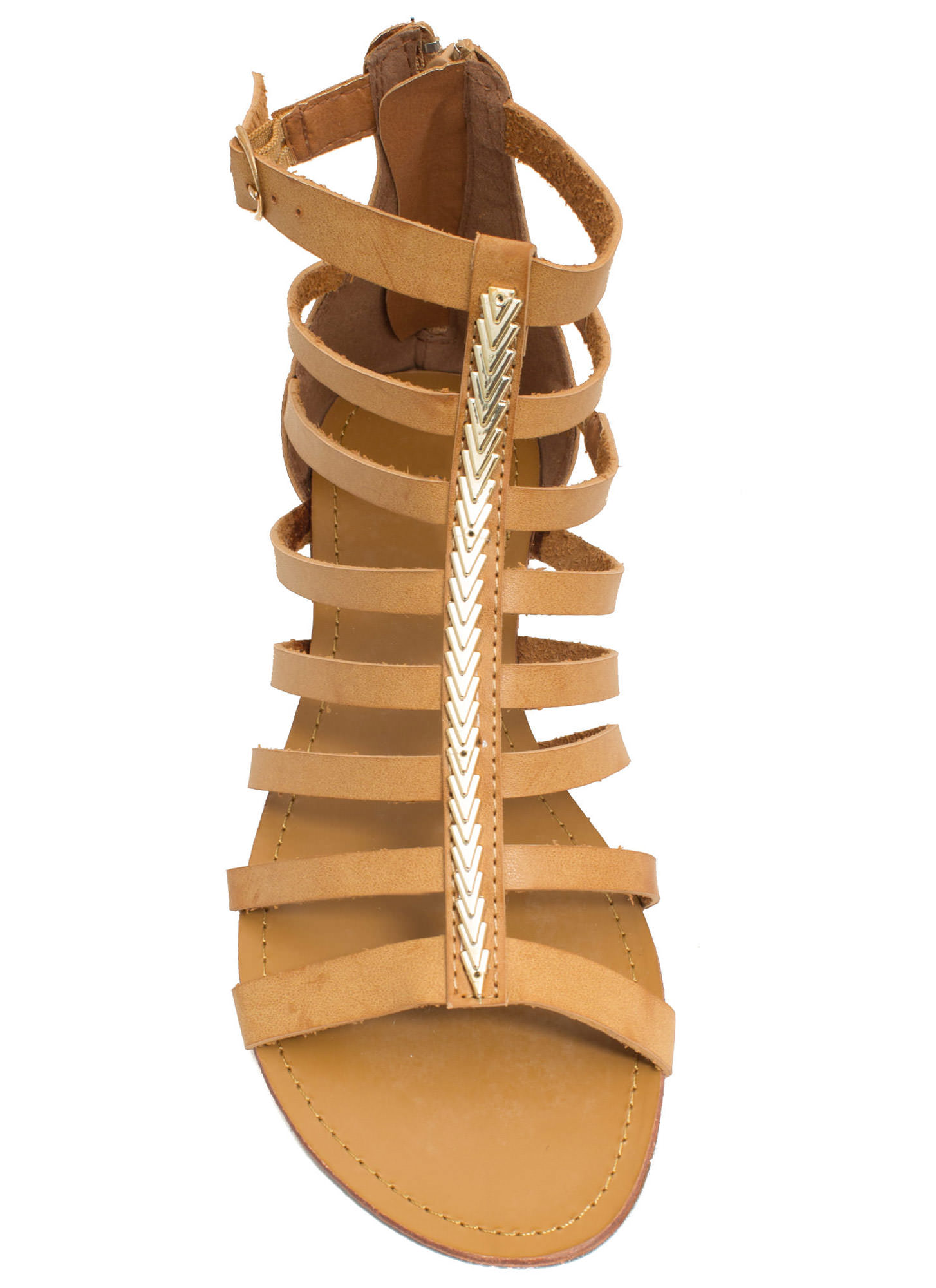 Metallic Touch Gladiator Sandals CAMEL