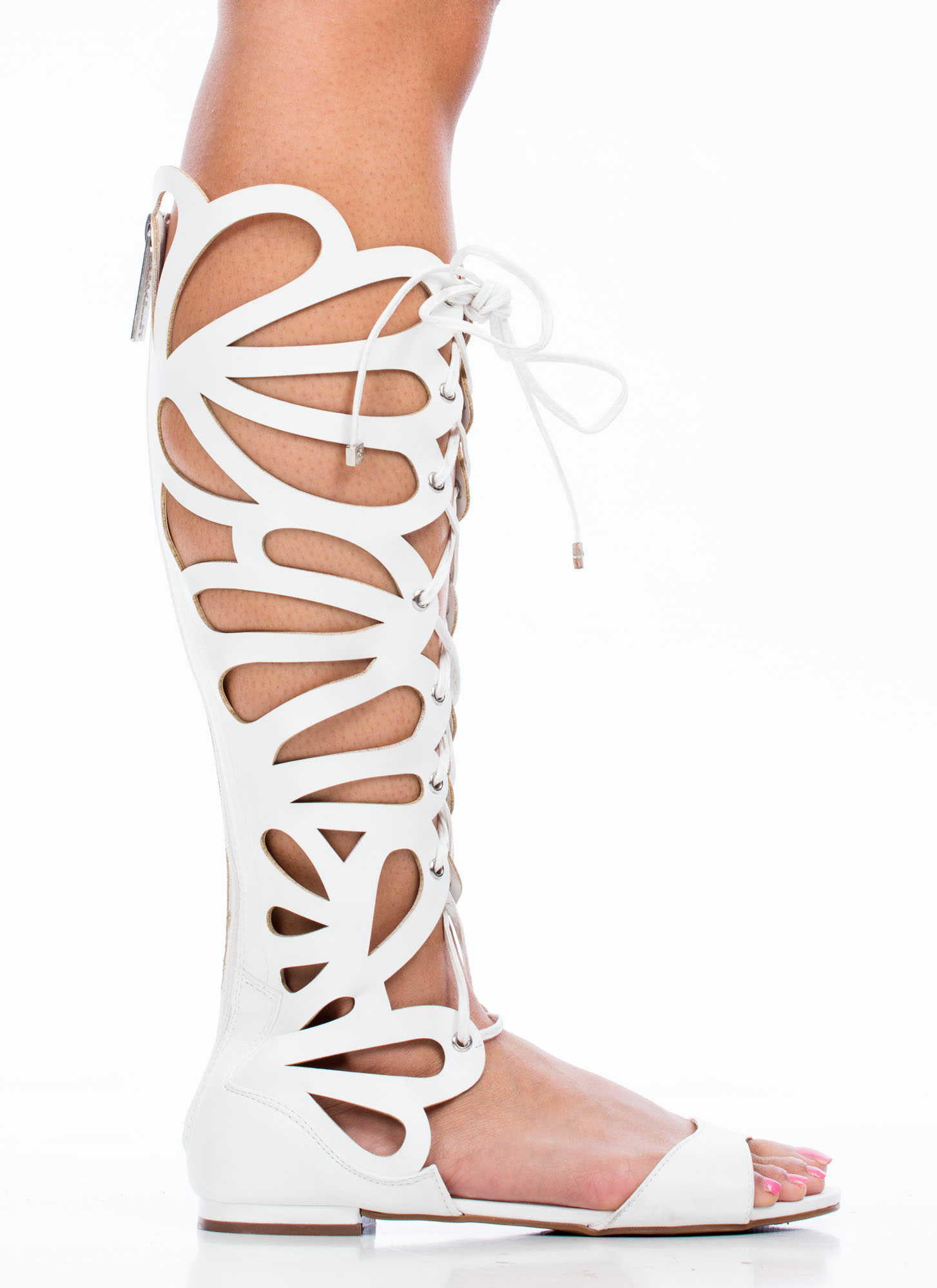 27415c4fb723 Teardrop Cut-Out Gladiator Sandals WHITE GREY TAN GUN RED - GoJane