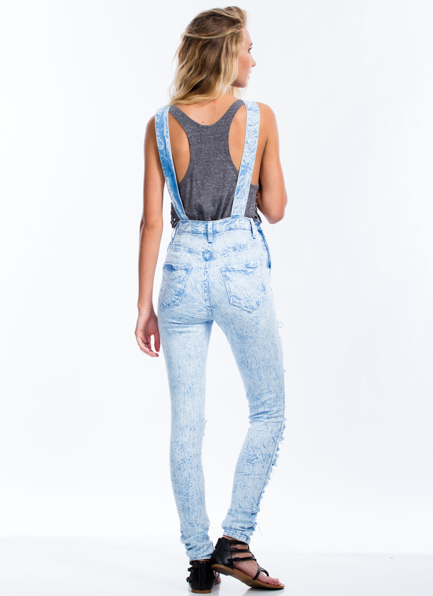 Shreddy Or Not Acid Wash Overalls LTBLUE