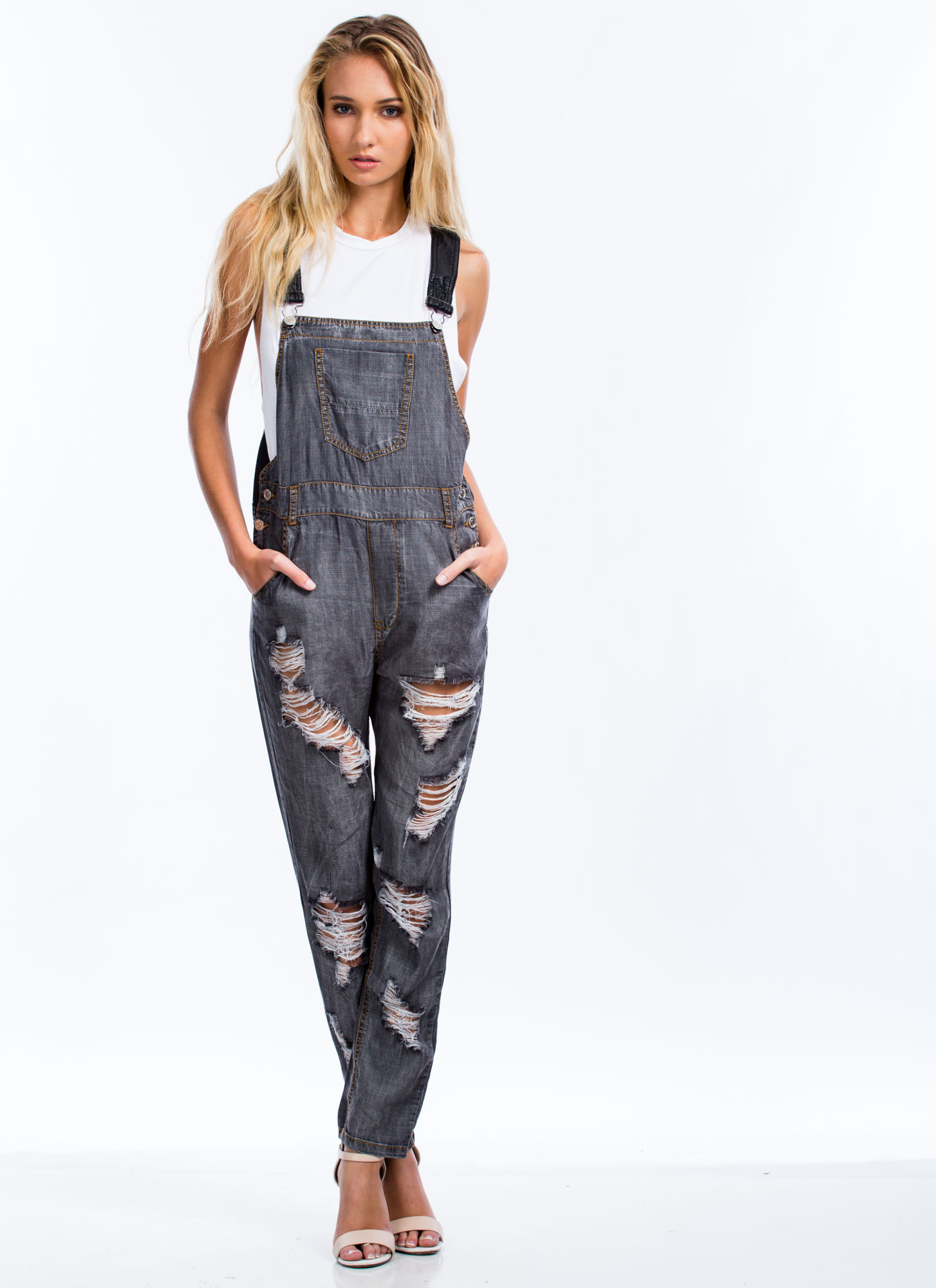 Destroyed Chambray Overalls BLACK