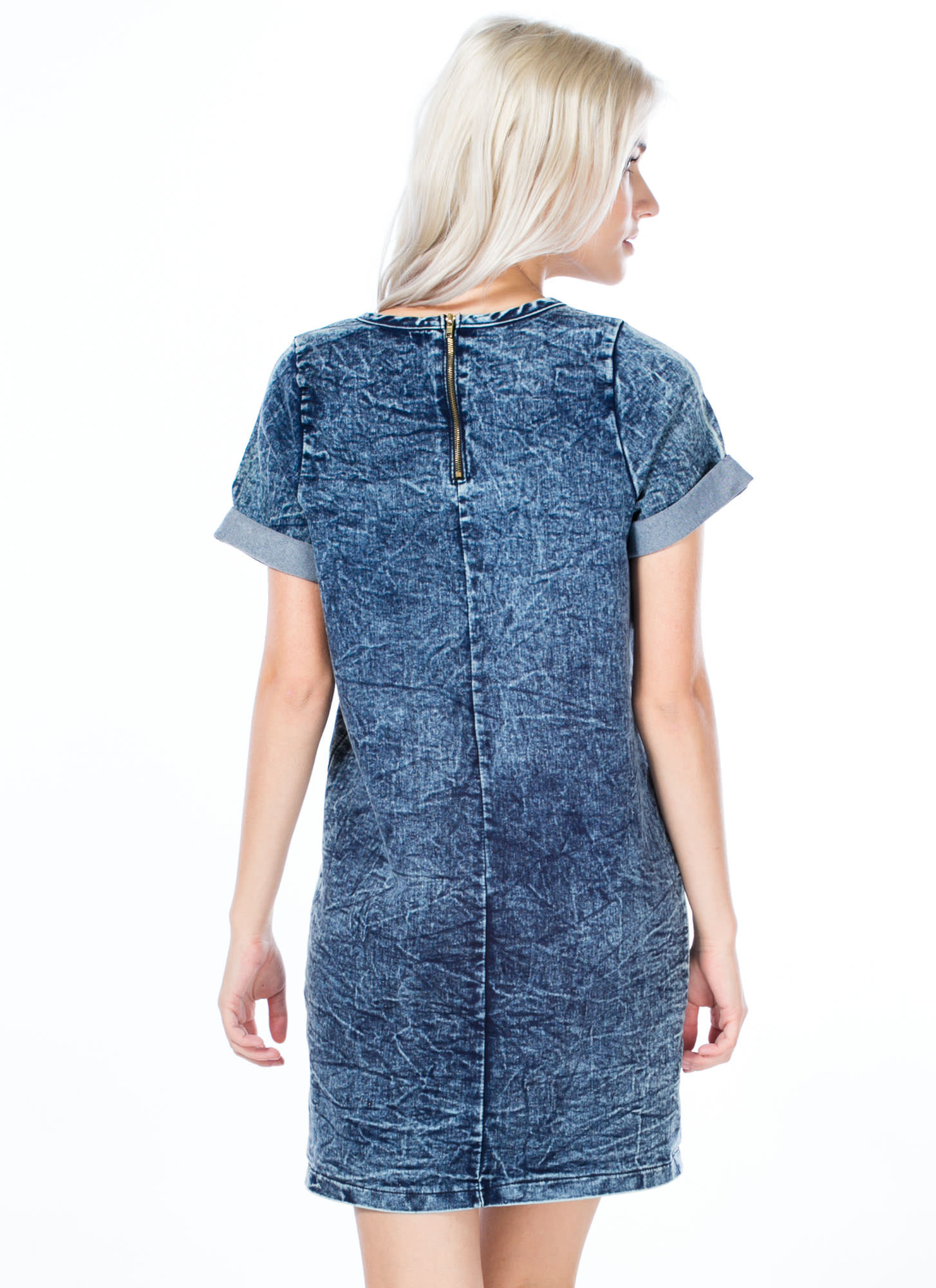 Cuffed Denim Shift Dress DKBLUE