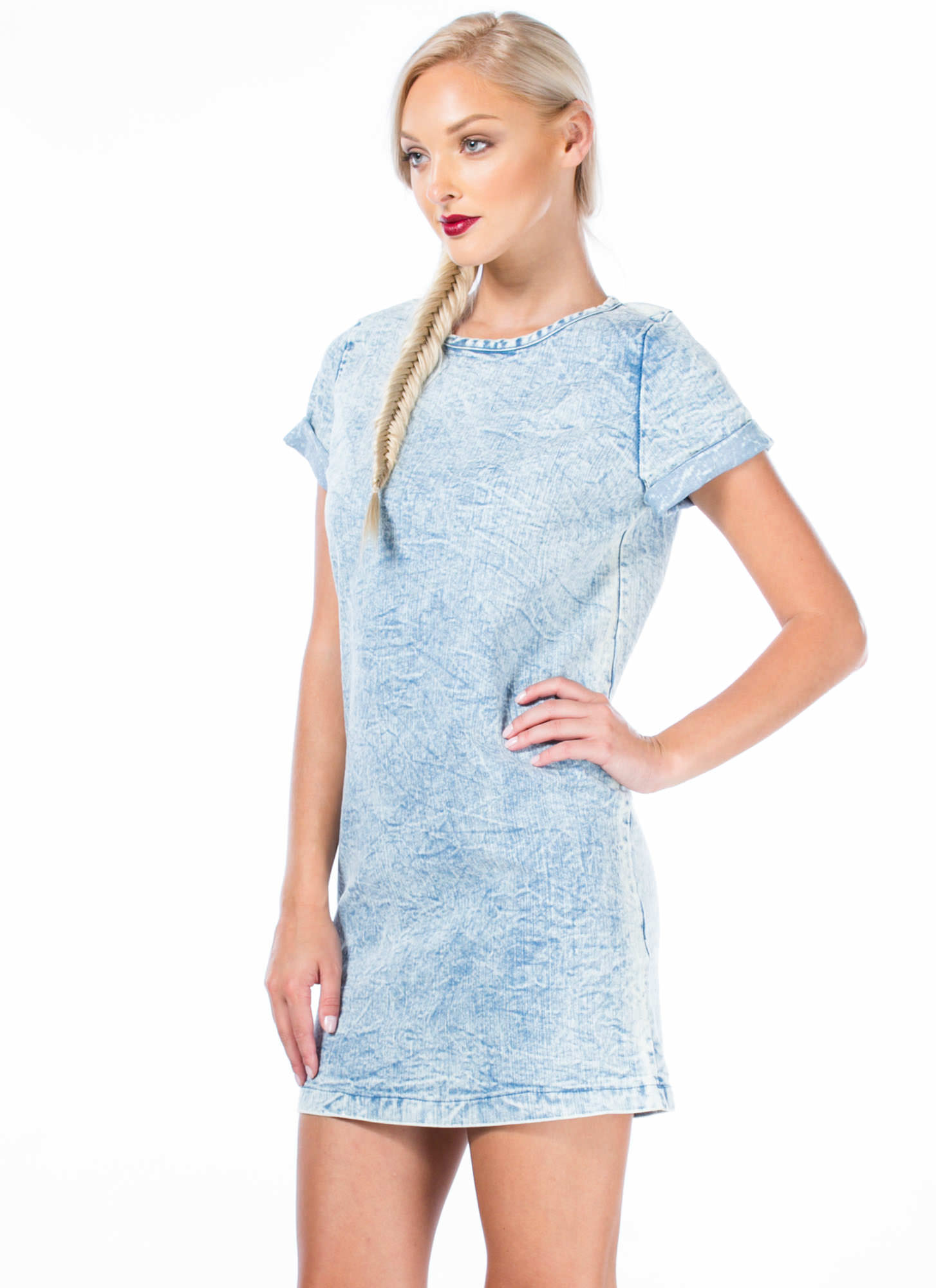 Cuffed Denim Shift Dress LTBLUE