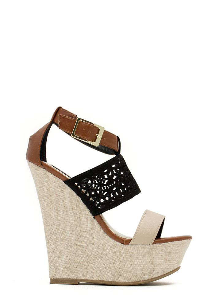 Lattice Rejoice Strappy Canvas Wedges BLACK
